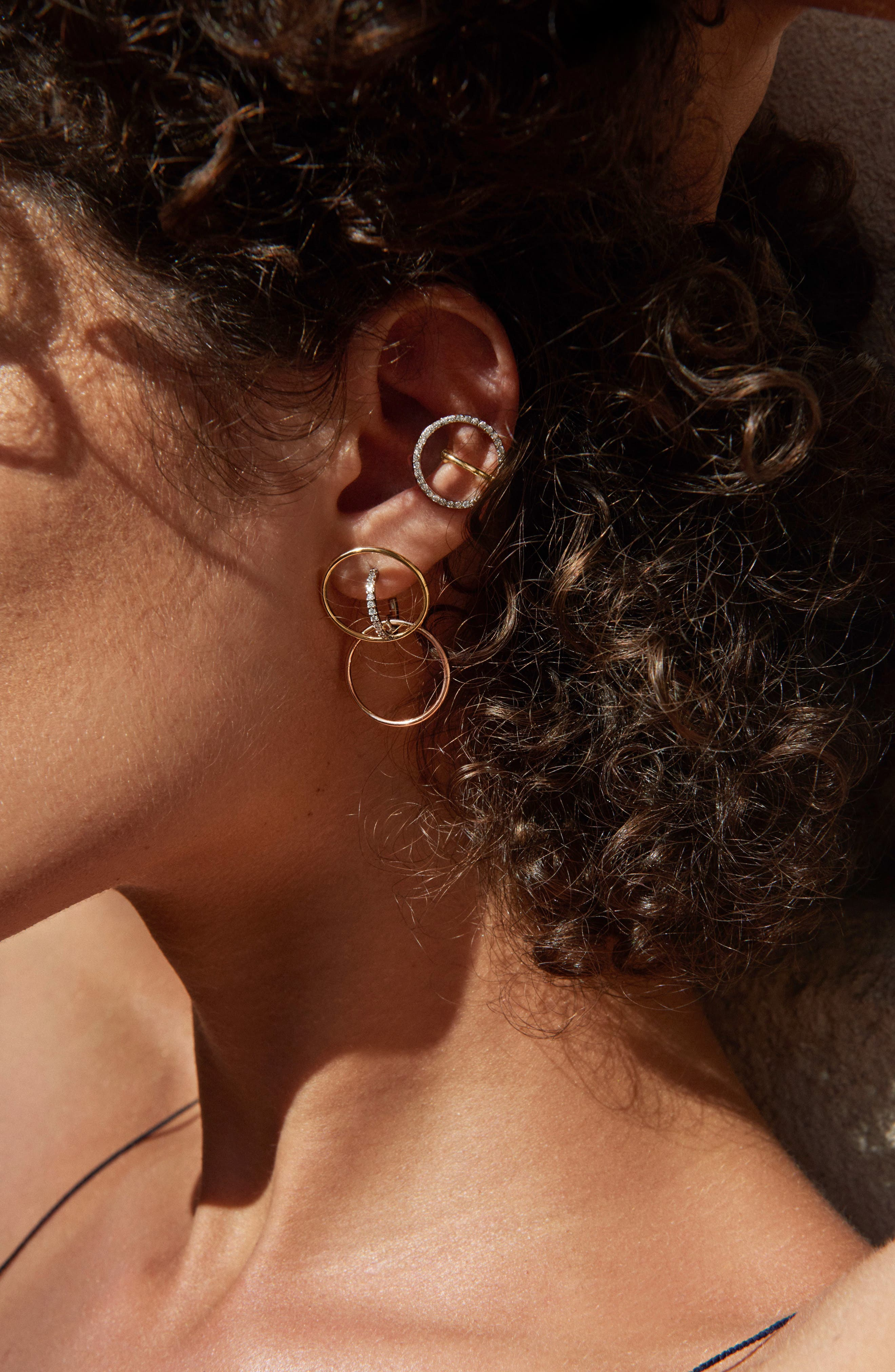 Celeste Diamond Earring,                             Alternate thumbnail 3, color,                             Yellow White Gold Diamonds