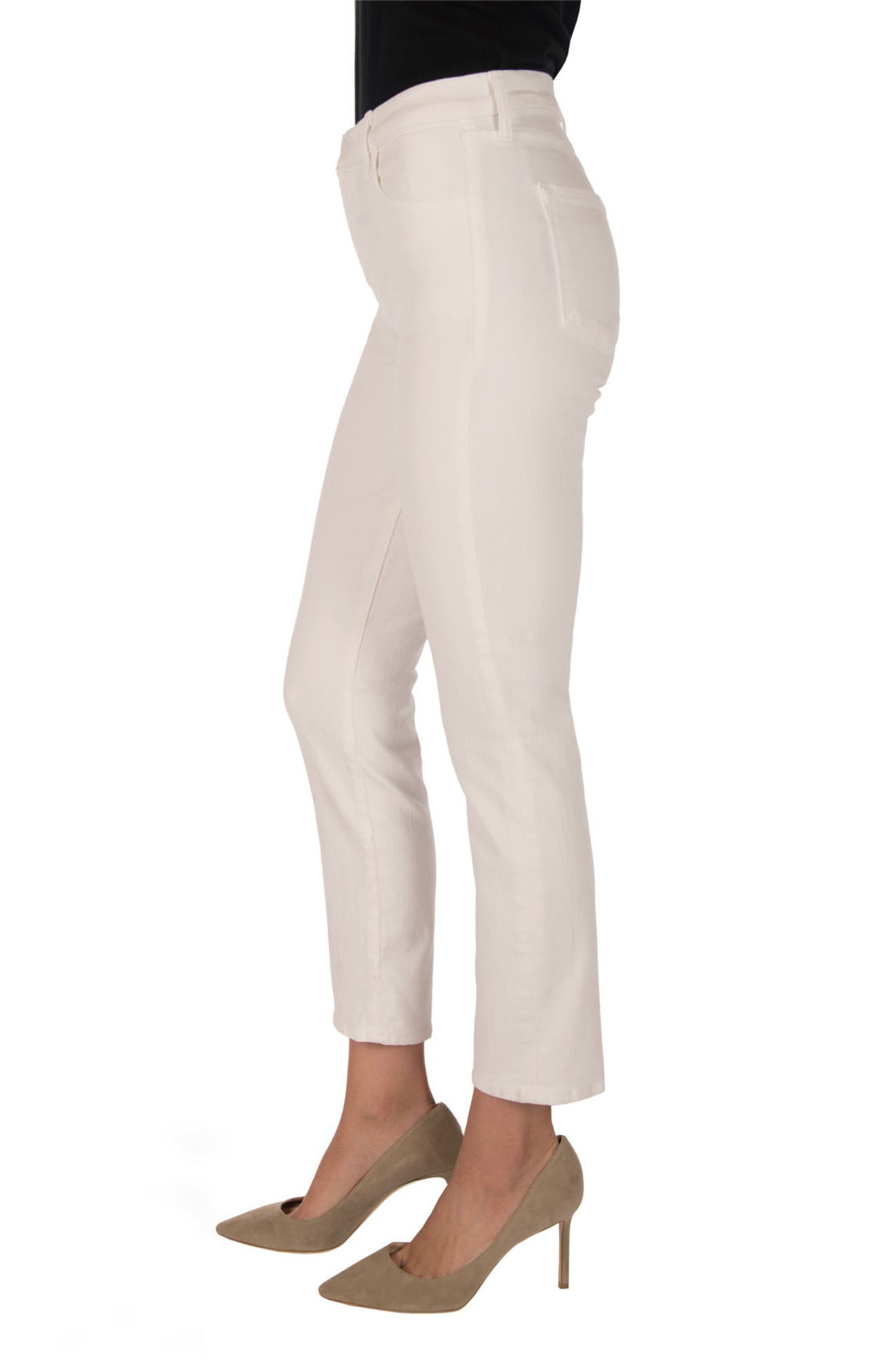 Ruby High Waist Crop Jeans,                             Alternate thumbnail 3, color,                             Blanc