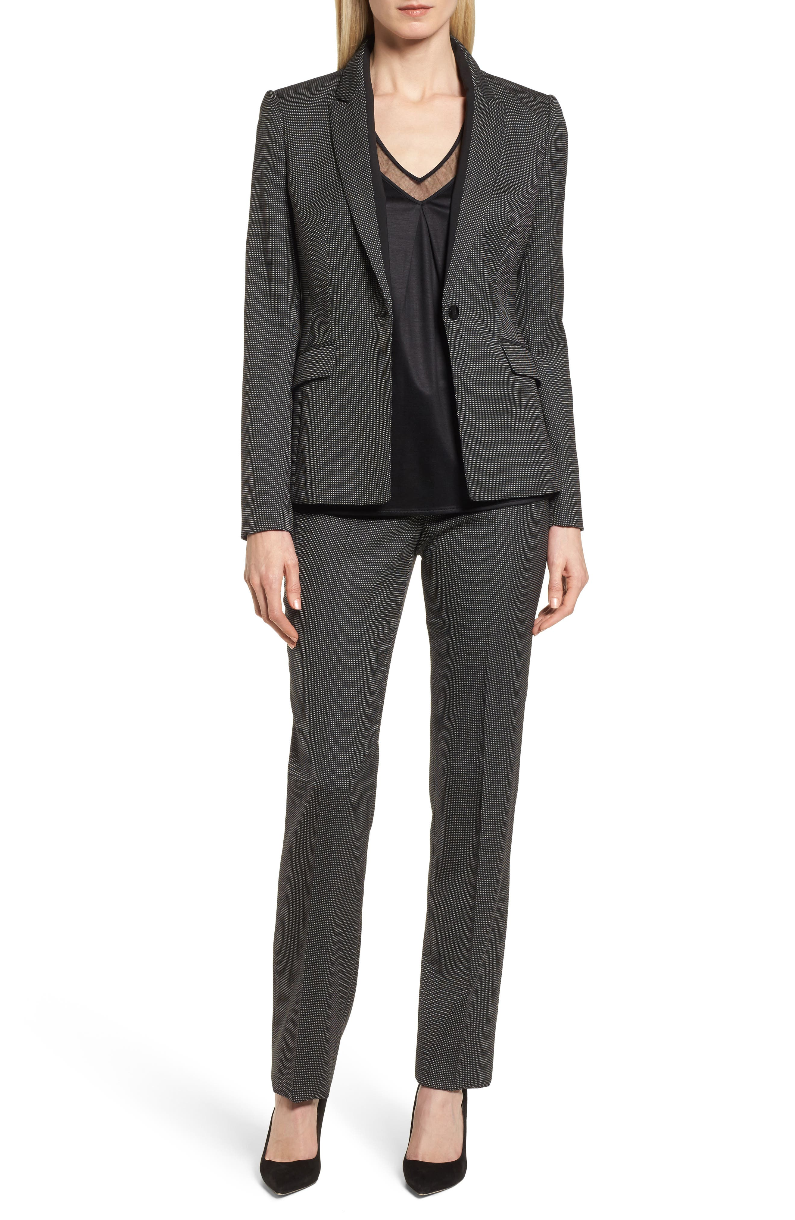 Tamea Straight Leg Stretch Wool Suit Pants,                             Alternate thumbnail 7, color,                             Black Fantasy