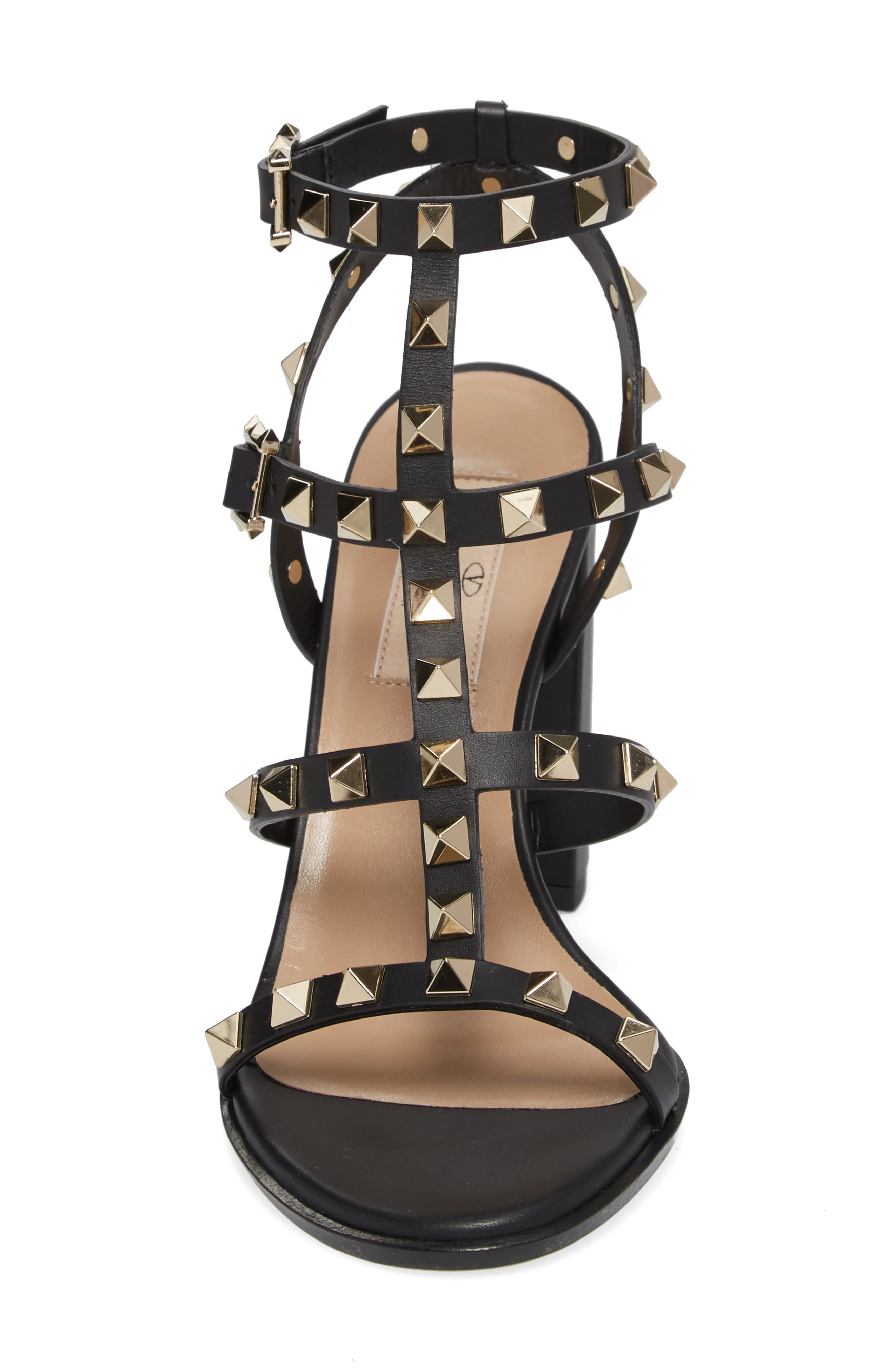 'Rockstud' T-Strap Sandal,                             Alternate thumbnail 4, color,                             Nero