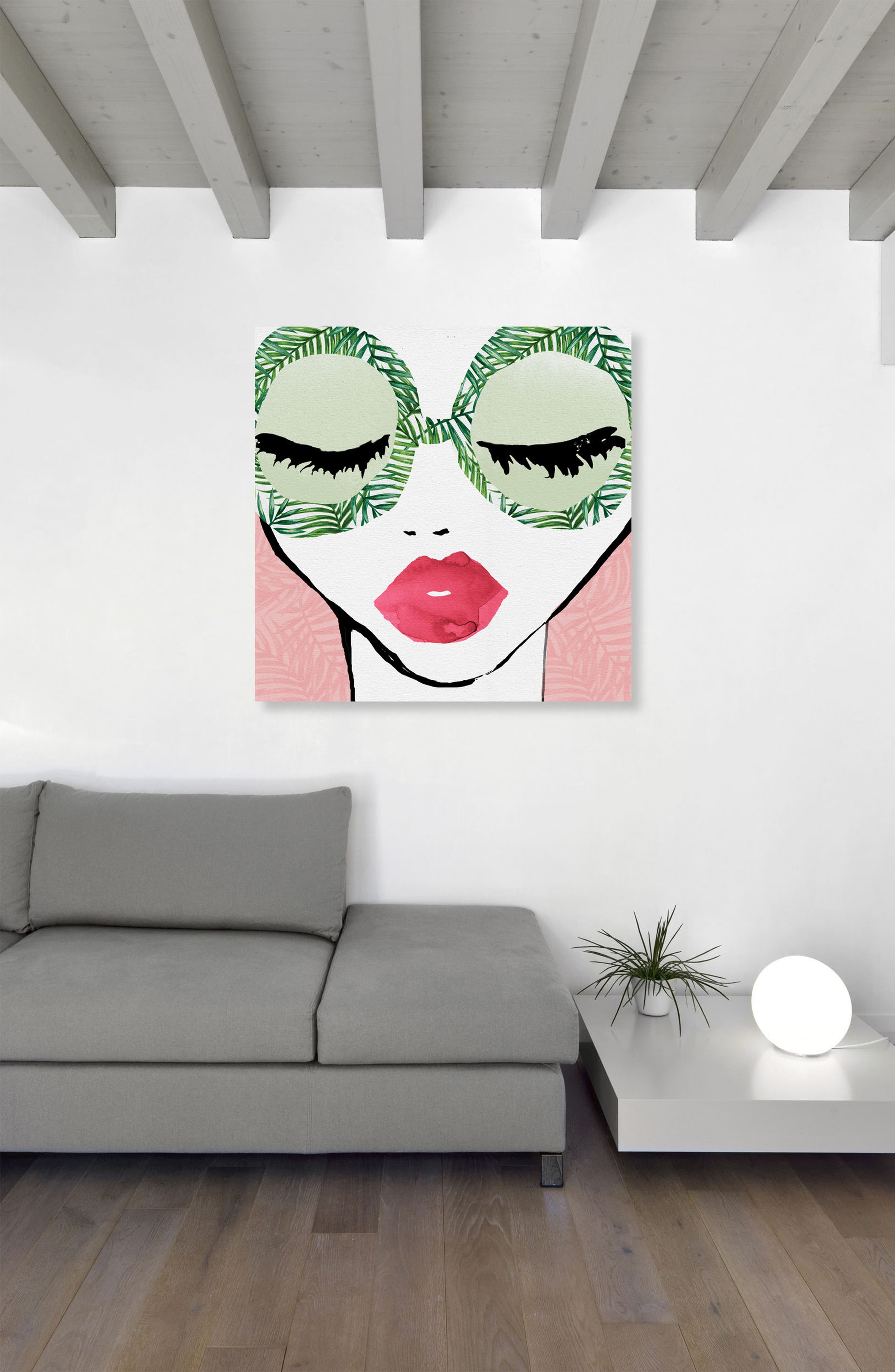 Plant Lady Glasses Canvas Wall Art,                             Alternate thumbnail 2, color,                             Green
