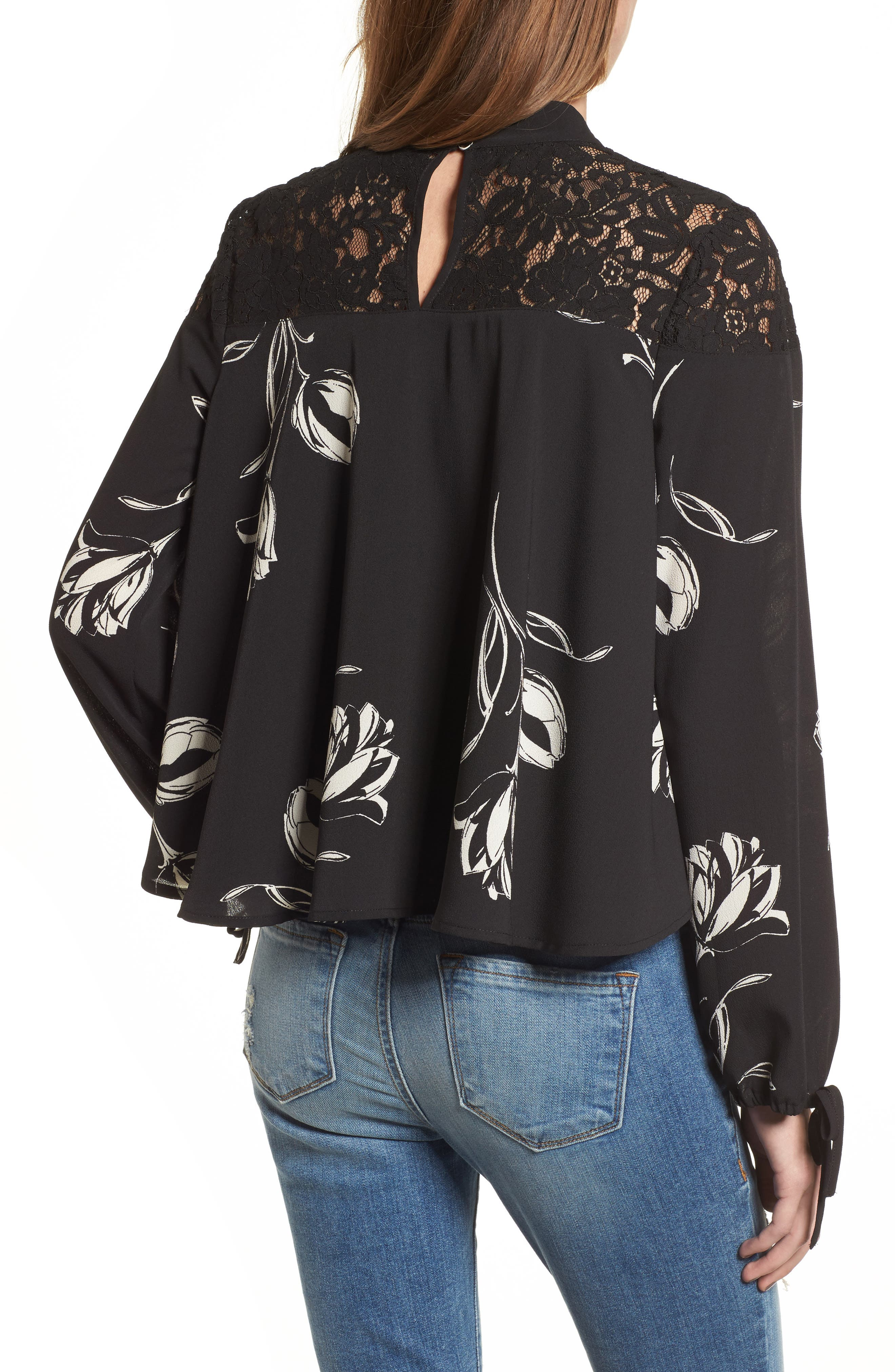Alternate Image 2  - Band of Gypsies Lace Yoke Floral Print Blouse