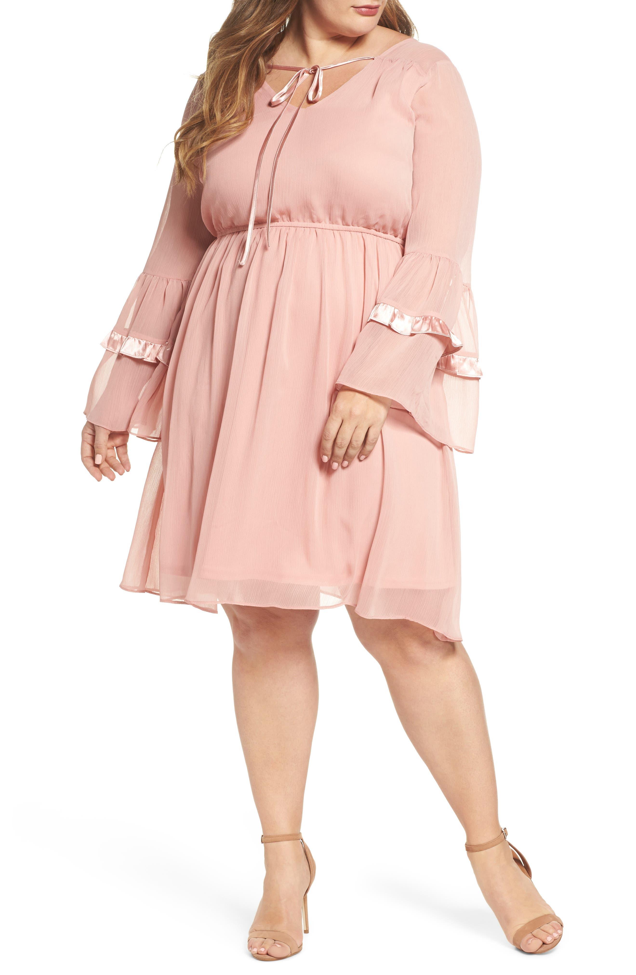 Satin Trim Crinkle Dress,                         Main,                         color, Blush