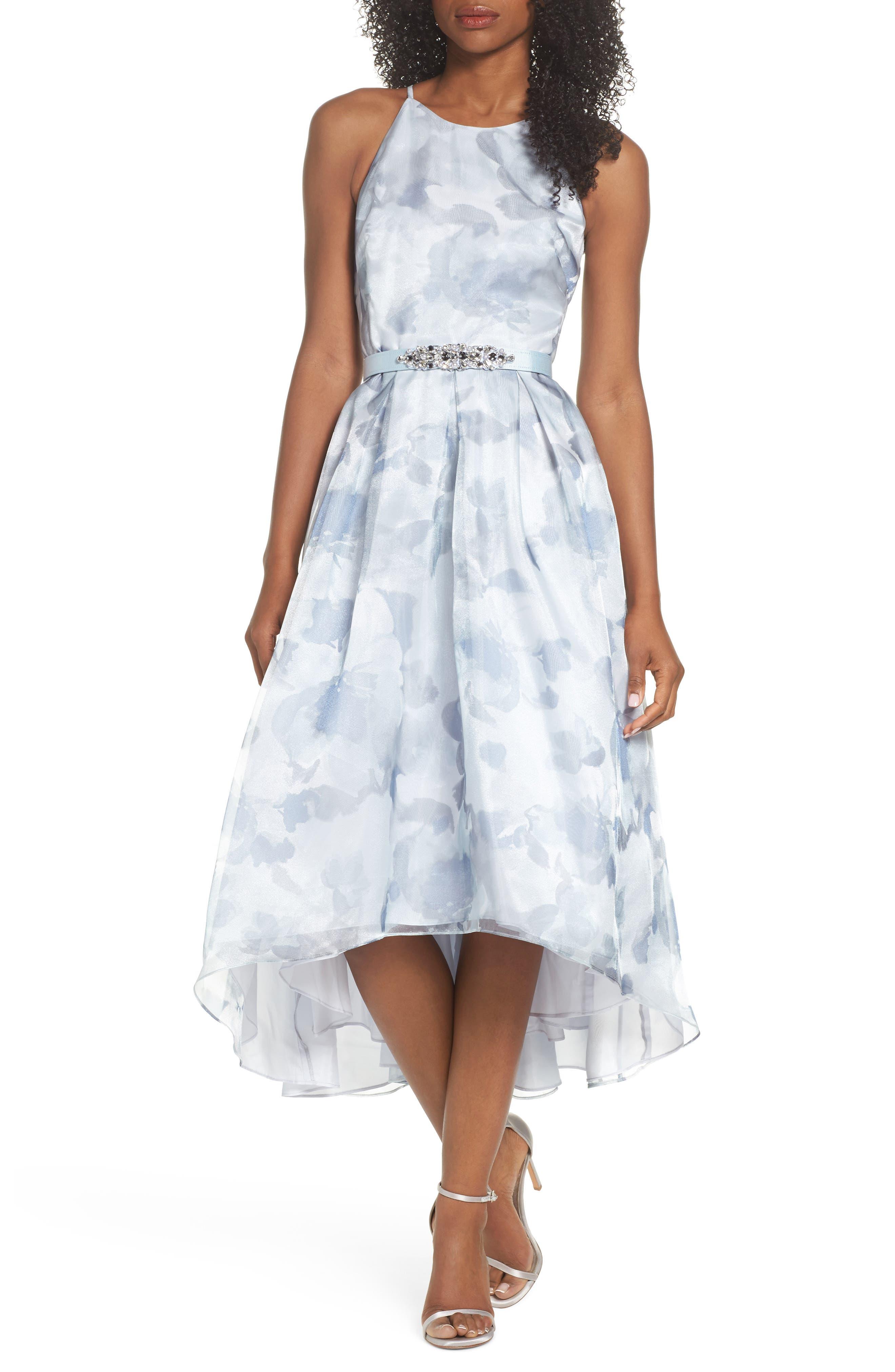 Belted Halter High/Low Dress,                         Main,                         color, Aqua