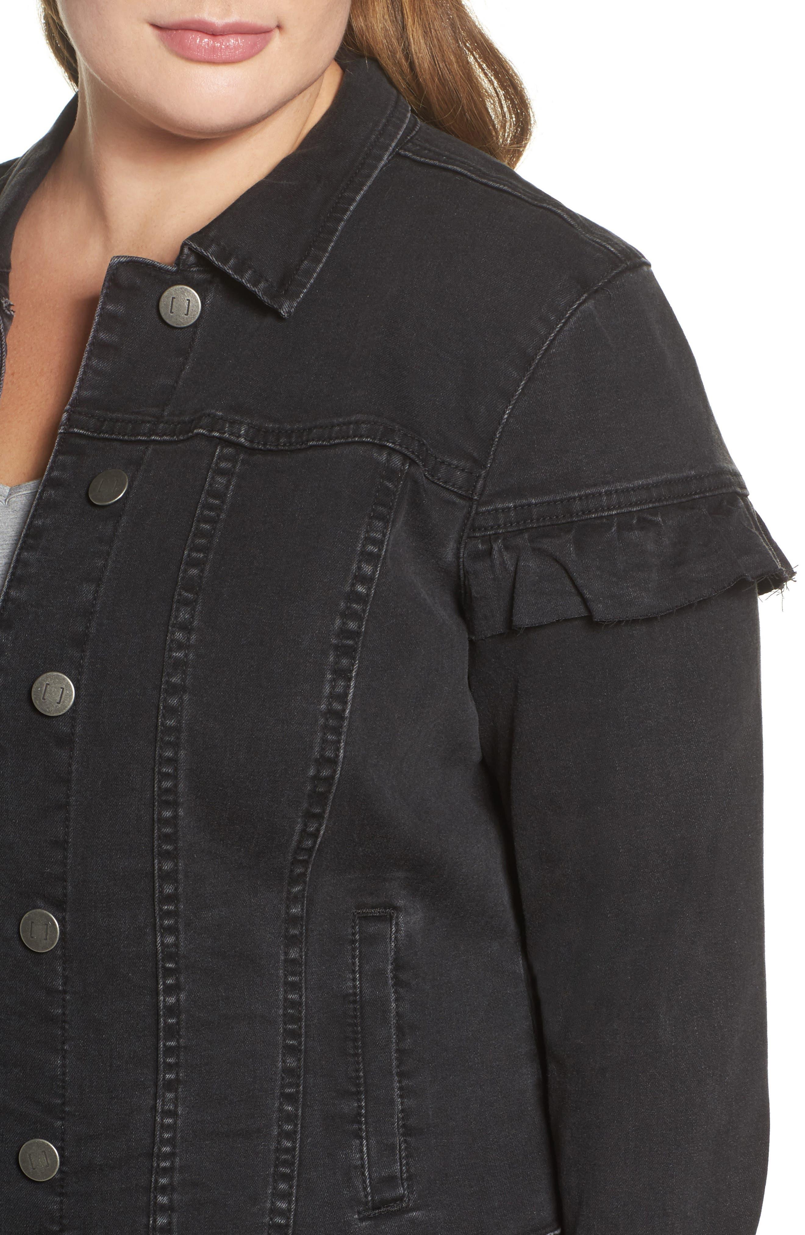 Katinka Denim Jacket,                             Alternate thumbnail 4, color,                             Black