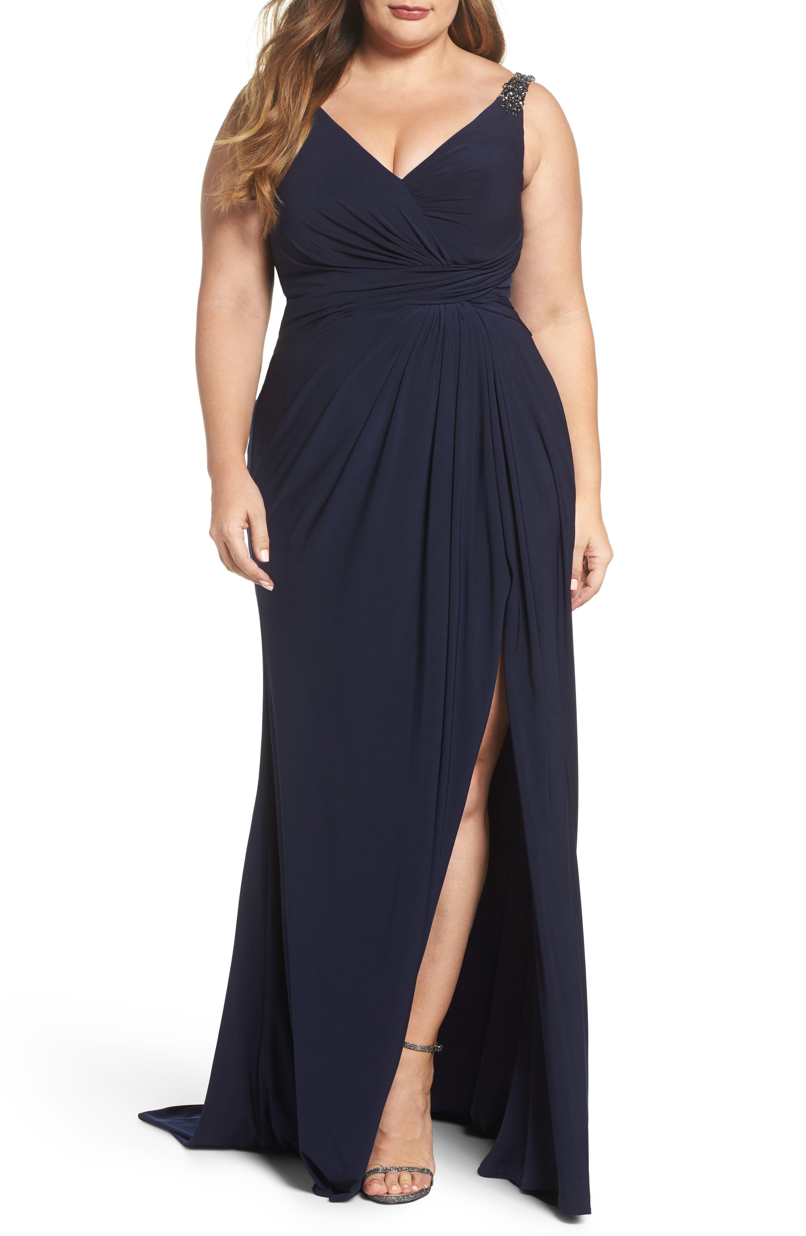 Embellished Shoulder Jersey Gown,                         Main,                         color, Navy