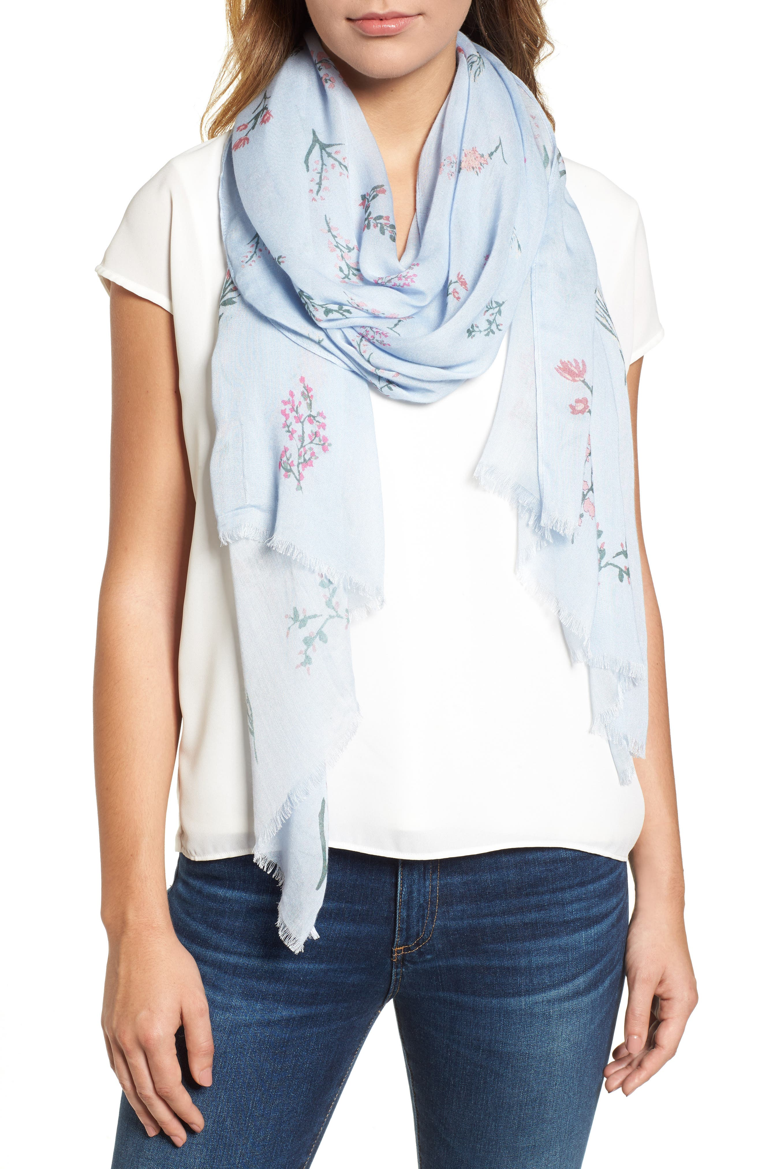 Pressed Flowers Scarf,                         Main,                         color, Skyway