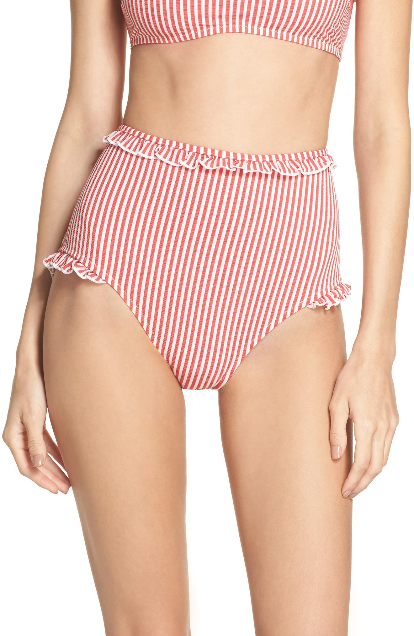 The Leslie High Waist Bikini Bottoms,                         Main,                         color, Red