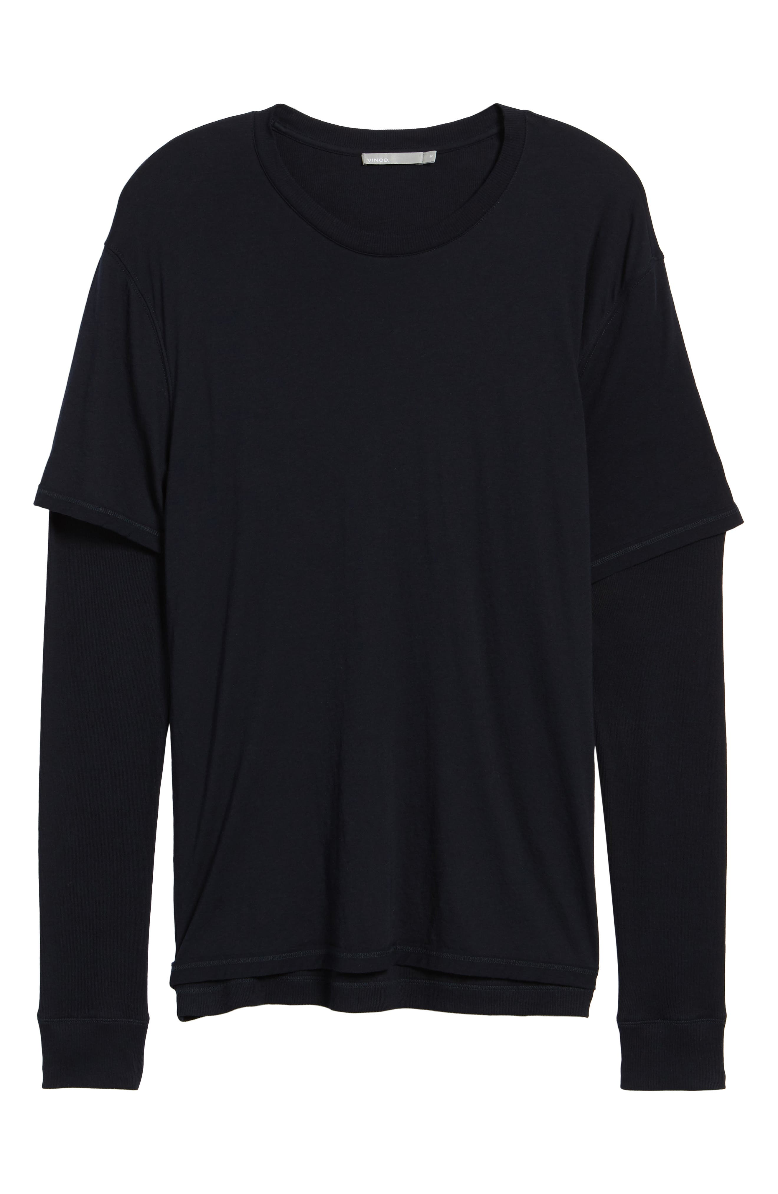 Layered Long Sleeve T-Shirt,                             Alternate thumbnail 6, color,                             Black