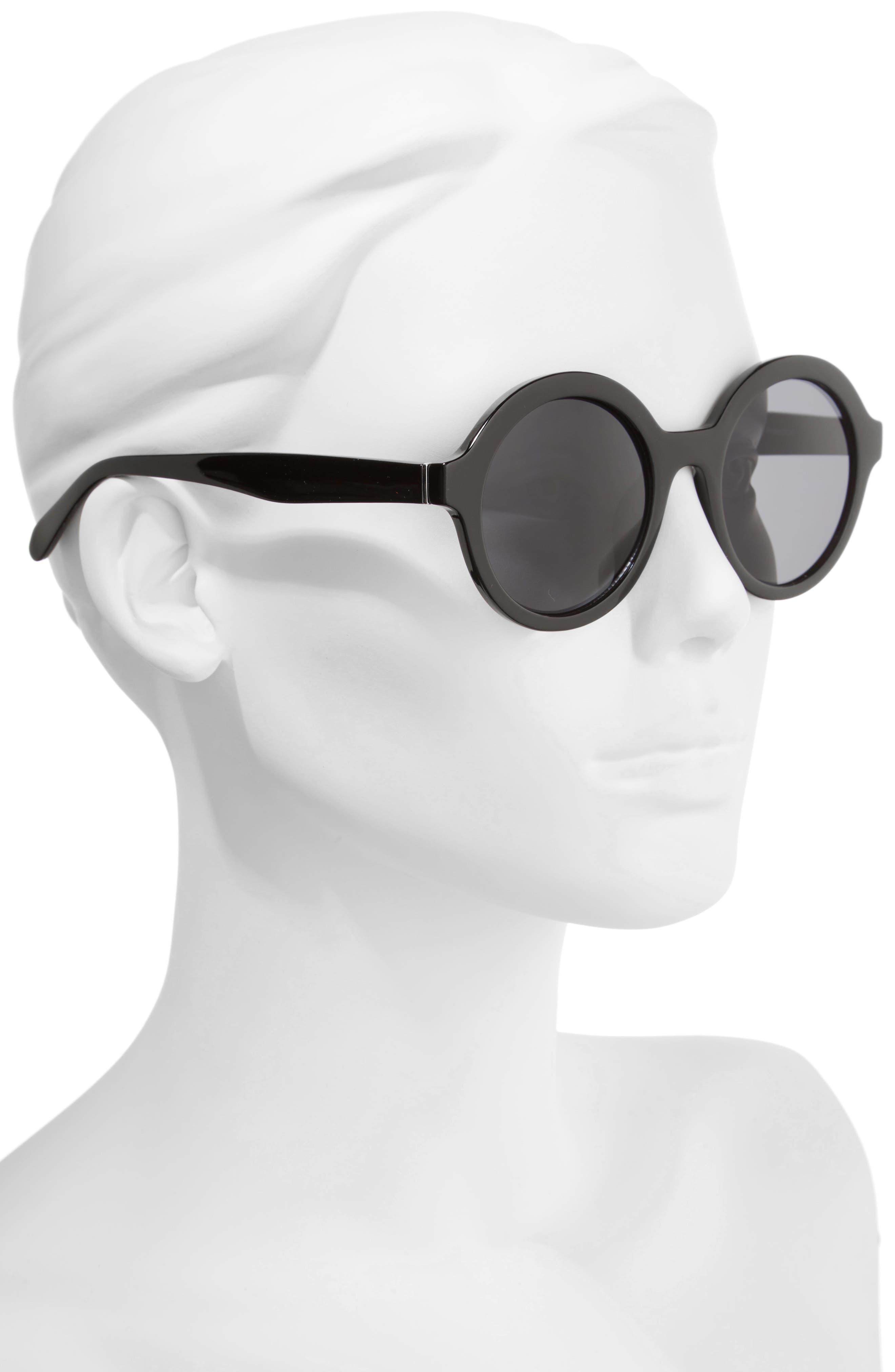 50mm Round Sunglasses,                             Alternate thumbnail 2, color,                             Black