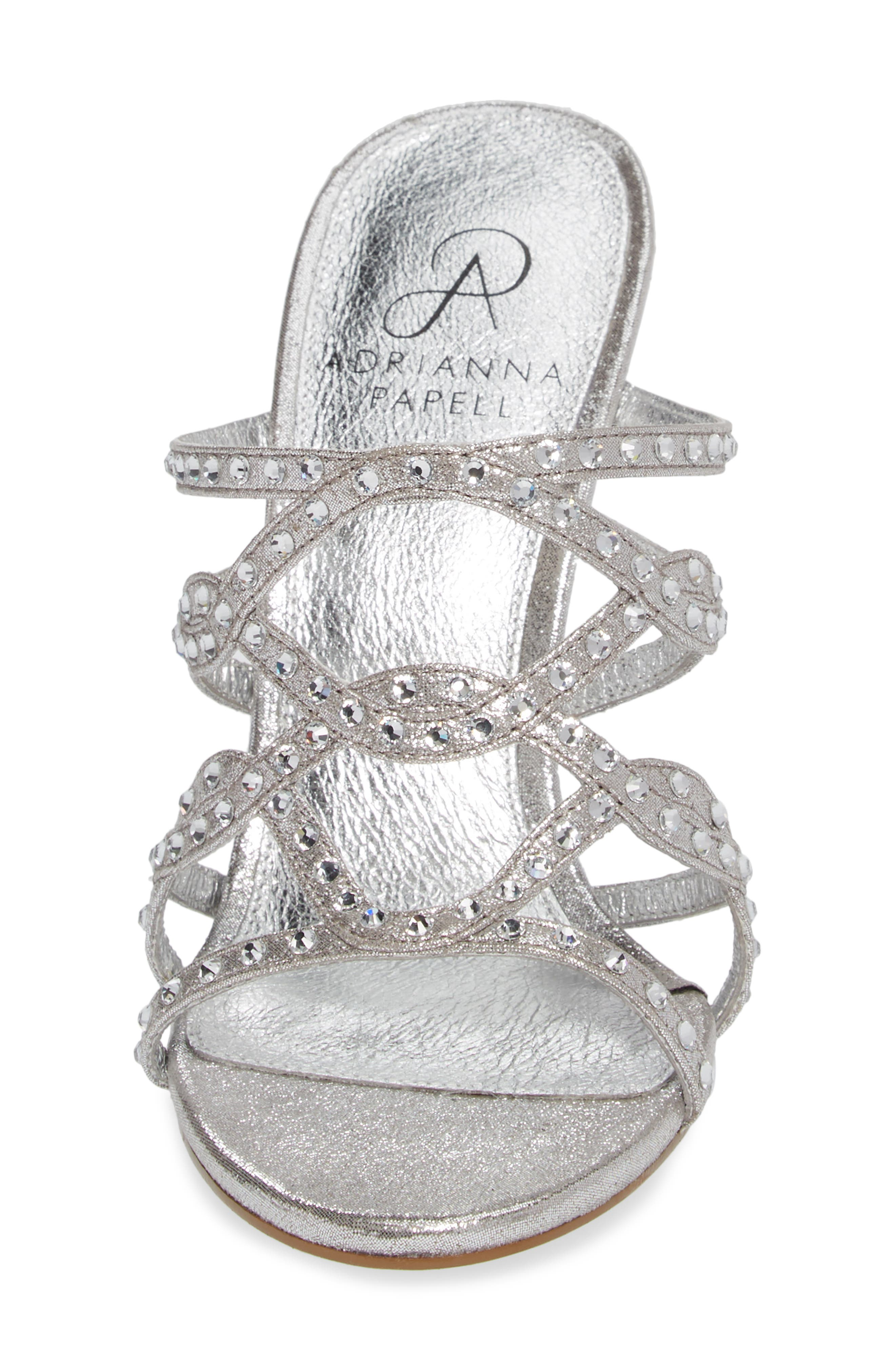 Emma Strappy Sandal,                             Alternate thumbnail 4, color,                             Silver Fabric