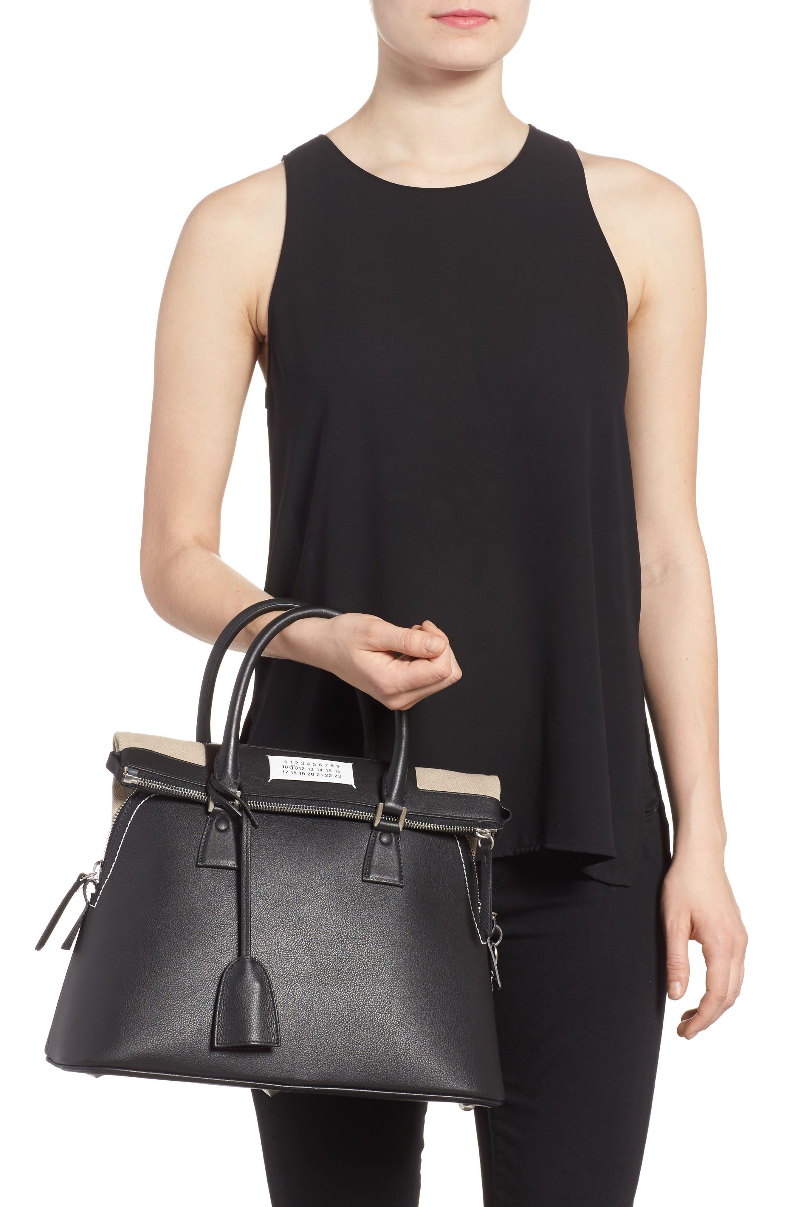 Medium 5AC Leather Handbag,                             Alternate thumbnail 2, color,                             Black
