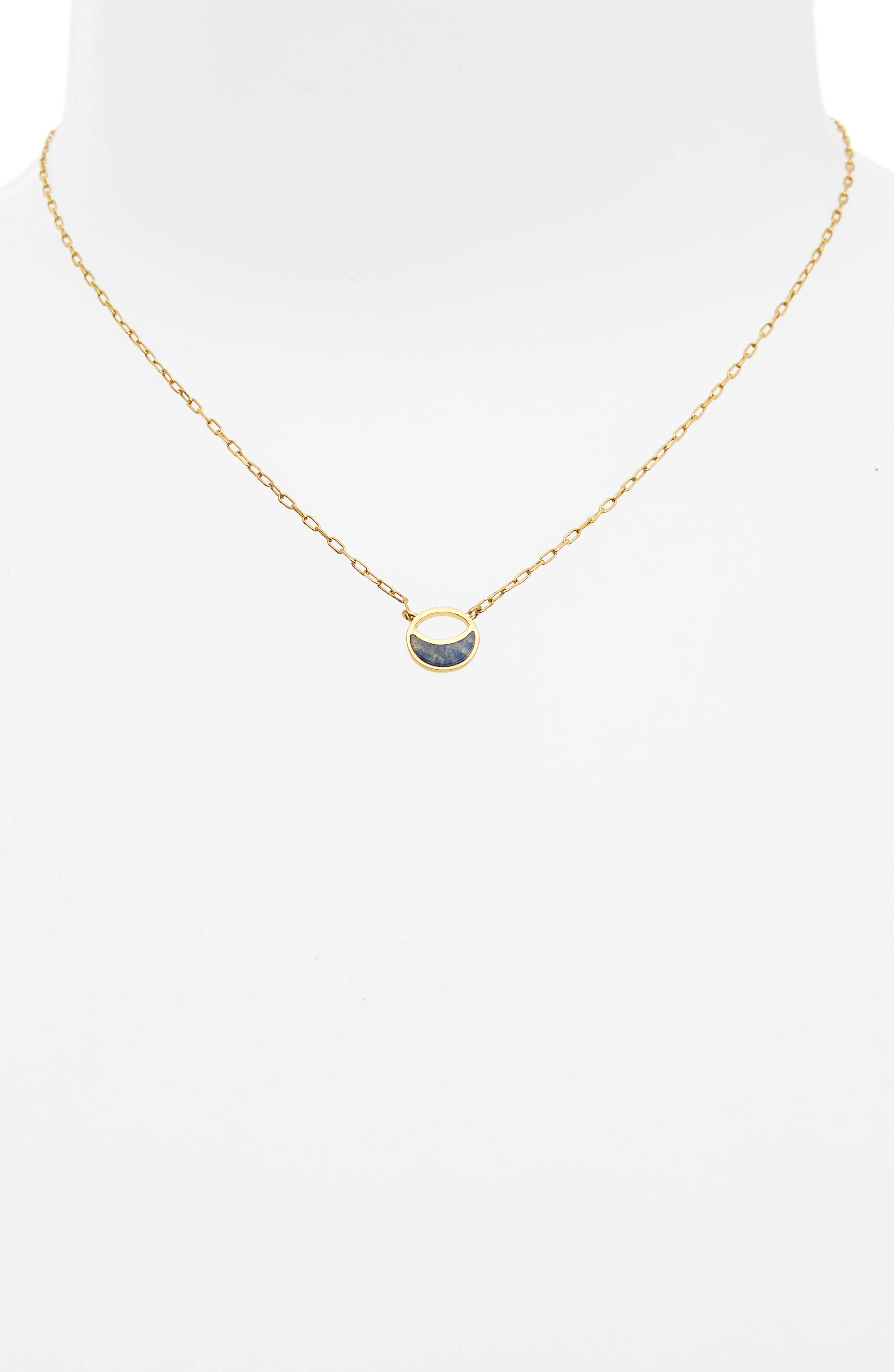 Delicate Crescent Pendant Necklace,                             Alternate thumbnail 2, color,                             Vintage Gold