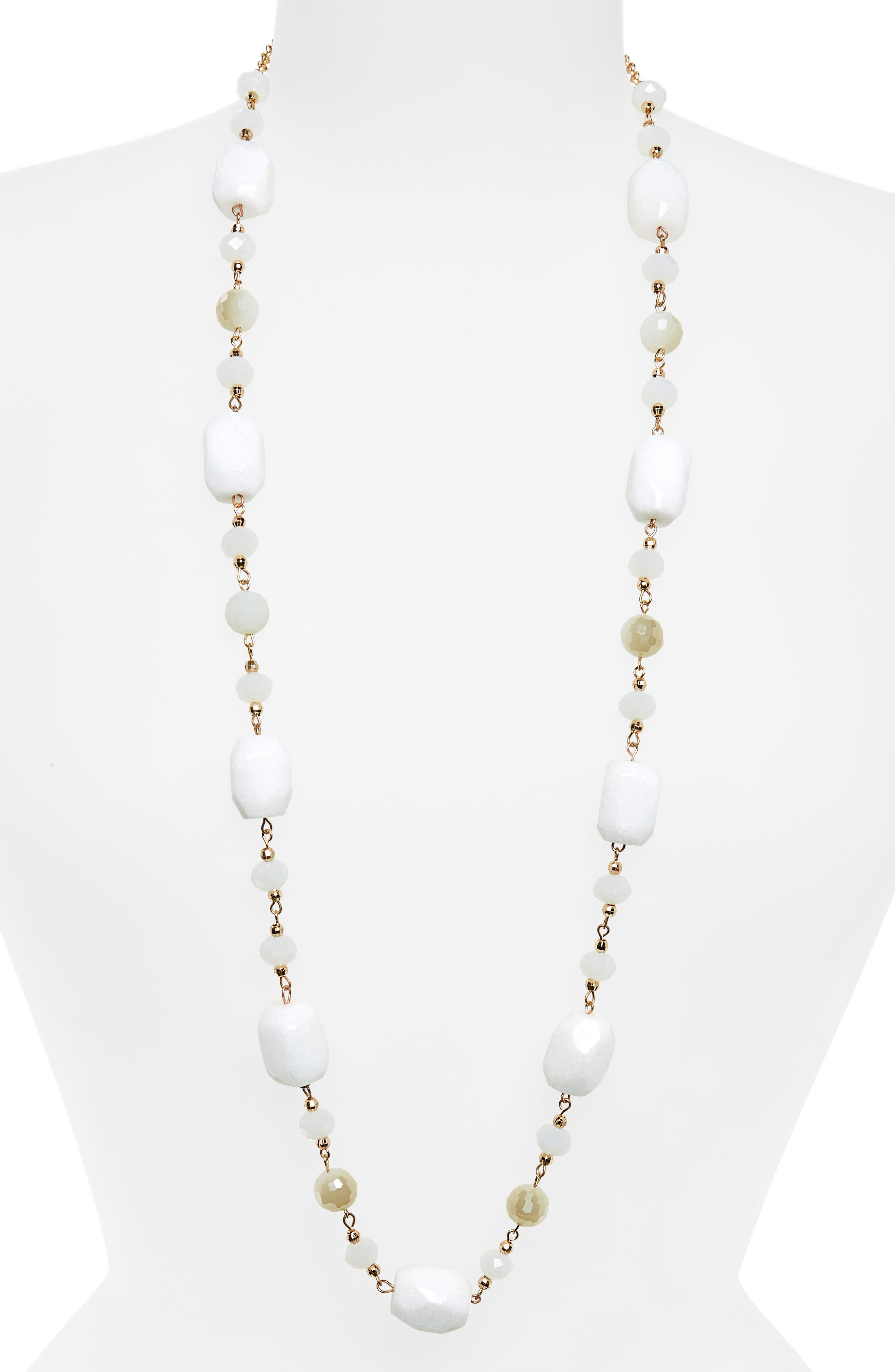 Beaded Necklace,                         Main,                         color, Gold/ White Combo