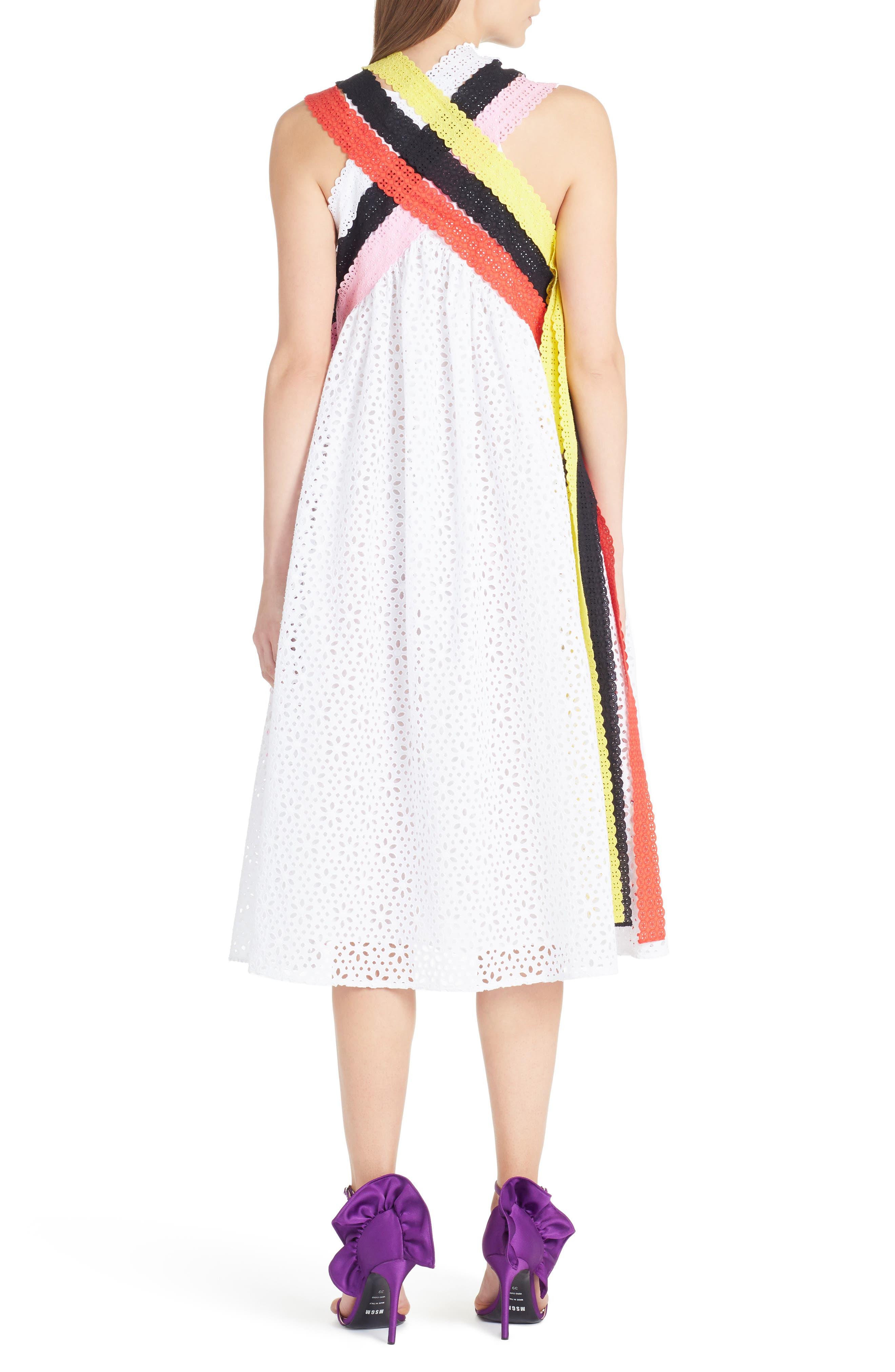 Multicolor Eyelet Midi Dress,                             Alternate thumbnail 2, color,                             White