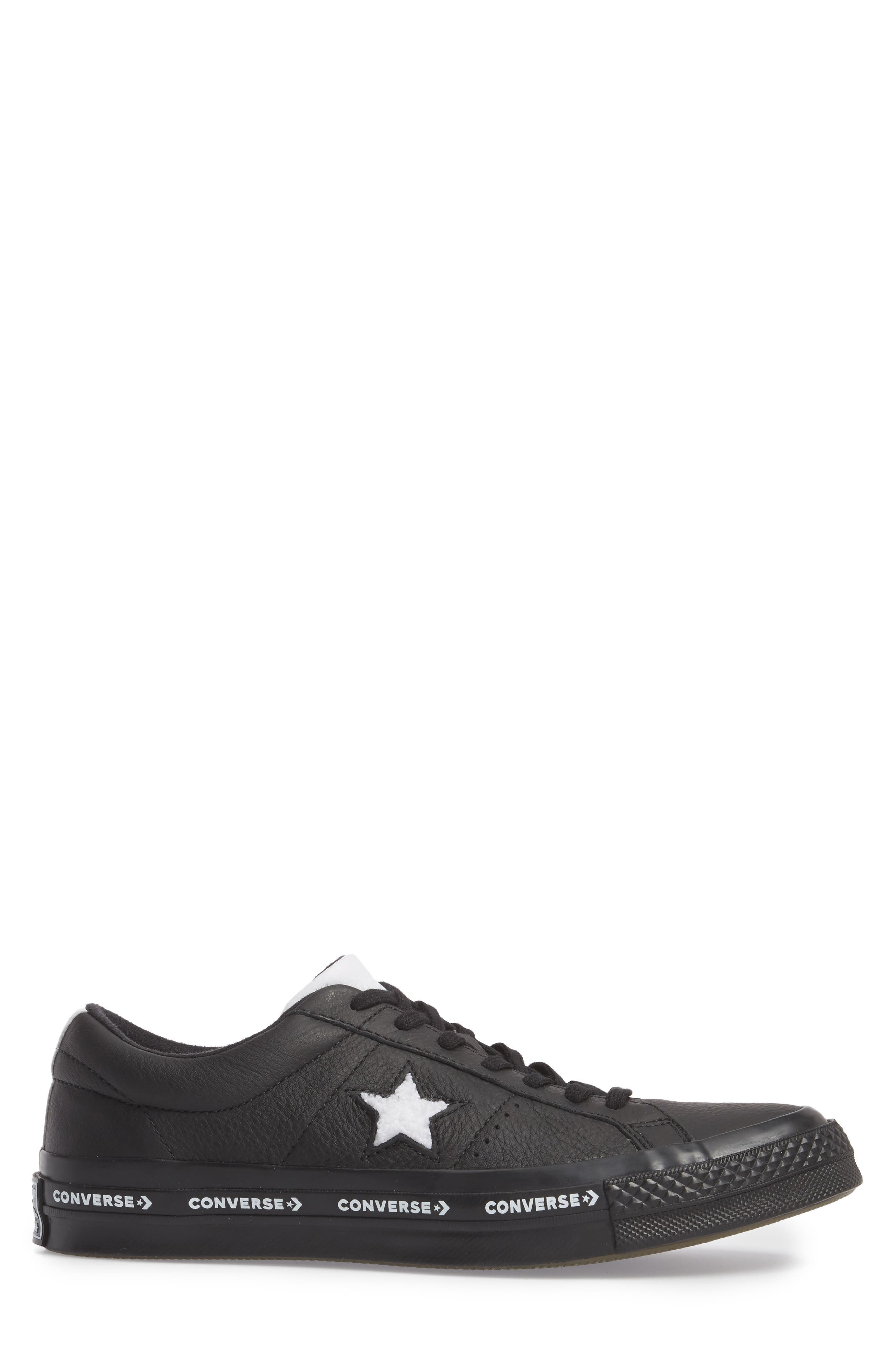Chuck Taylor<sup>®</sup> One Star Pinstripe Sneaker,                             Alternate thumbnail 3, color,                             Black Leather