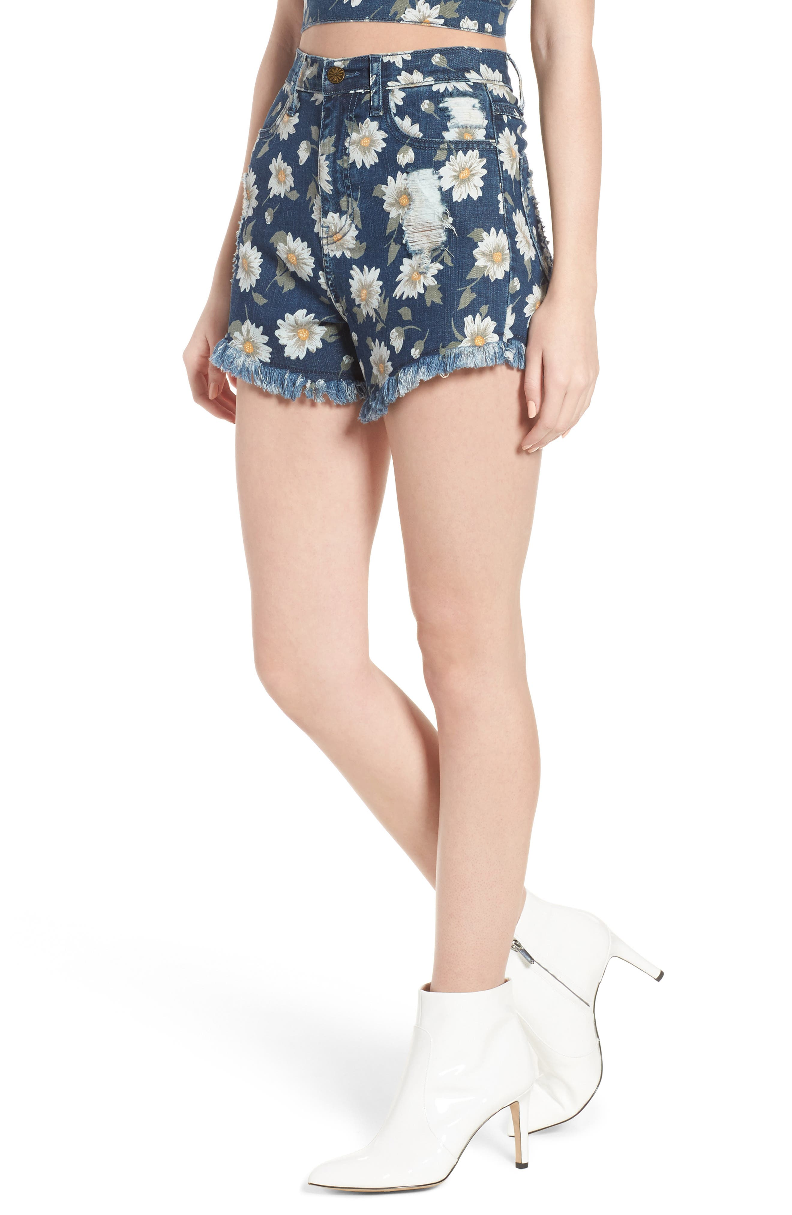 Show Me Your Mumu Toledo High Waist Cutoff Denim Shorts (Daisy Duke Denim)