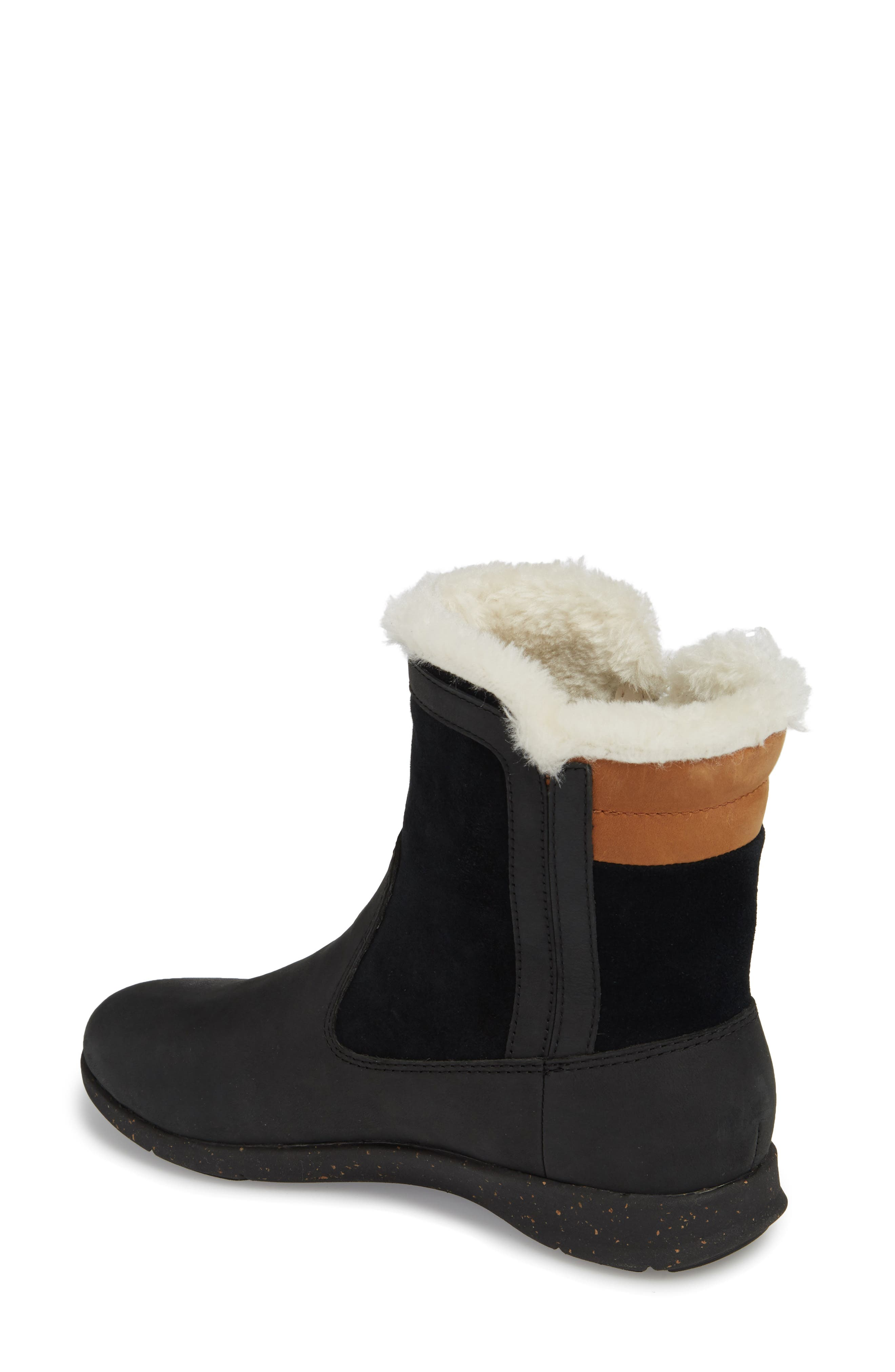 Juniper Faux Fur Lined Waterproof Bootie,                             Alternate thumbnail 2, color,                             Black Leather