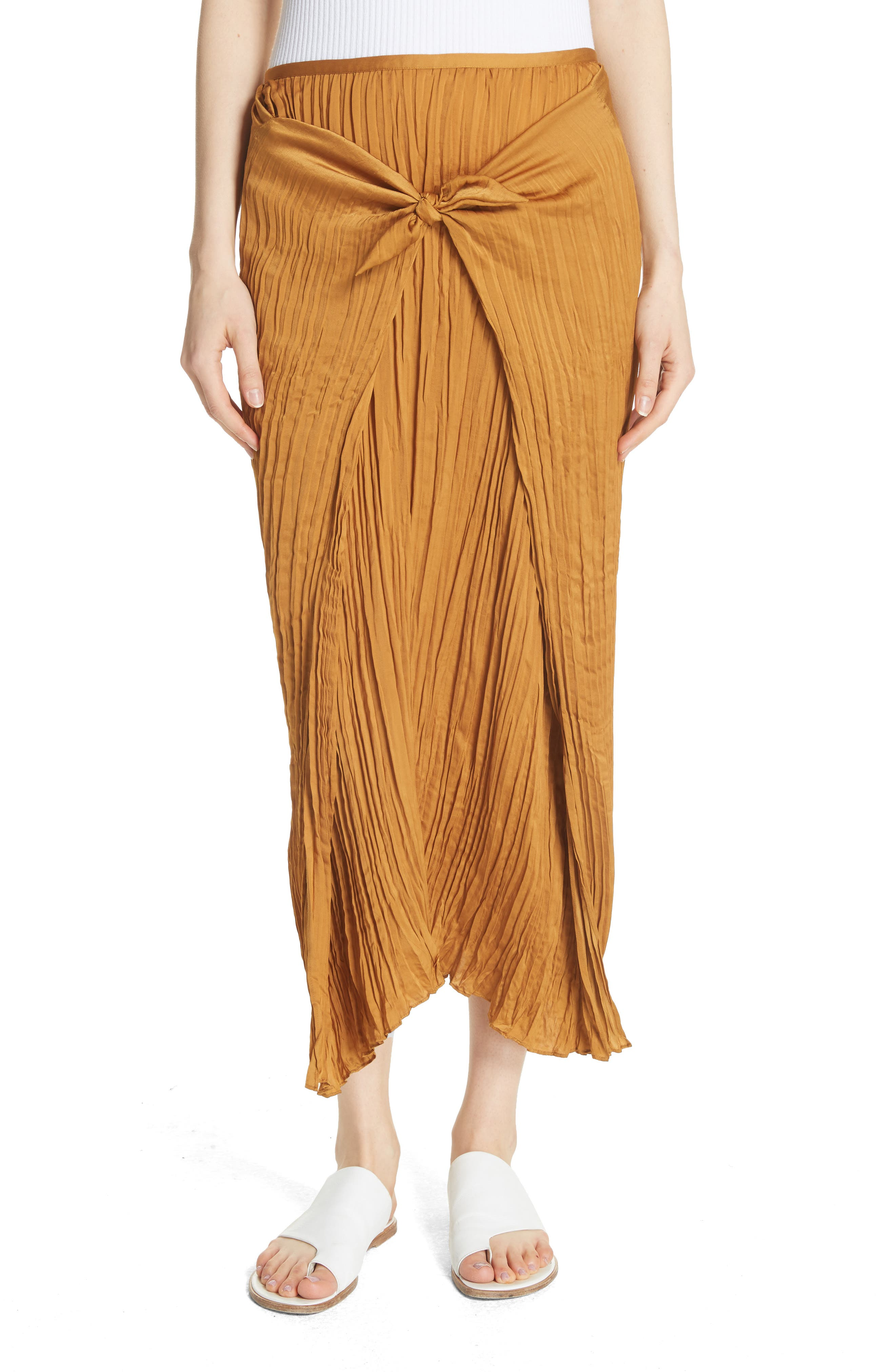 Pleated Tie Front Midi Skirt,                         Main,                         color, Turmeric