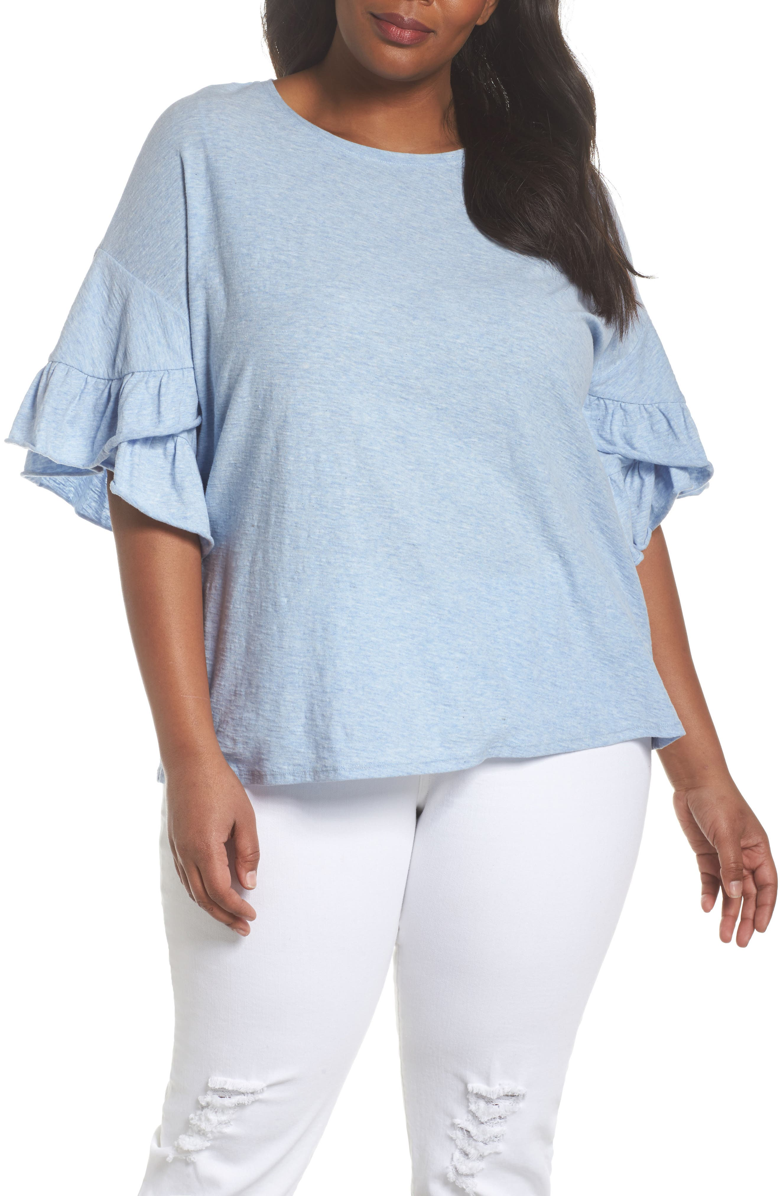 Drop Shoulder Tiered Ruffle Sleeve Top,                         Main,                         color, Lt Chambray Heather