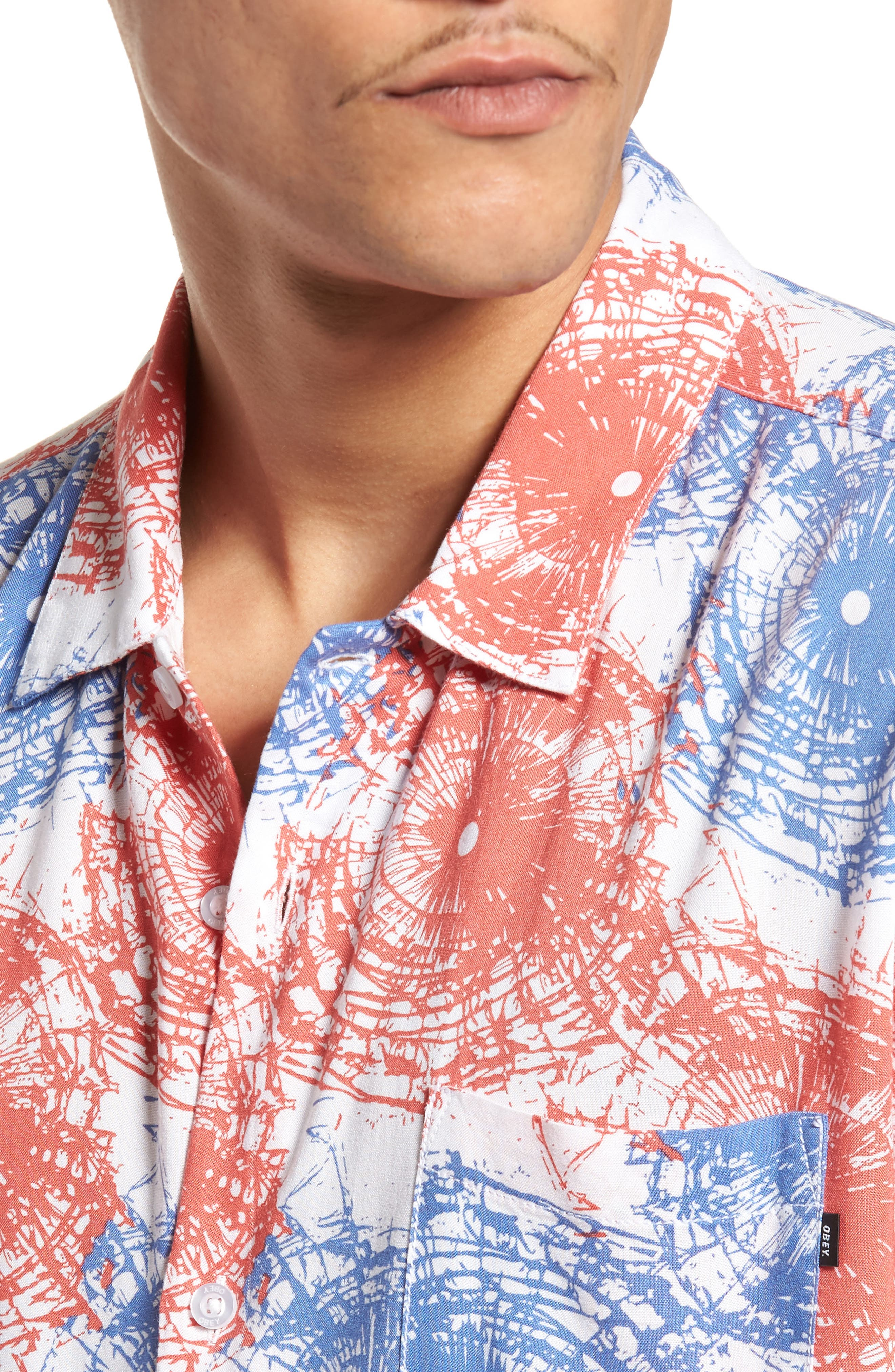 Shattered Woven Shirt,                             Alternate thumbnail 4, color,                             Red Multi