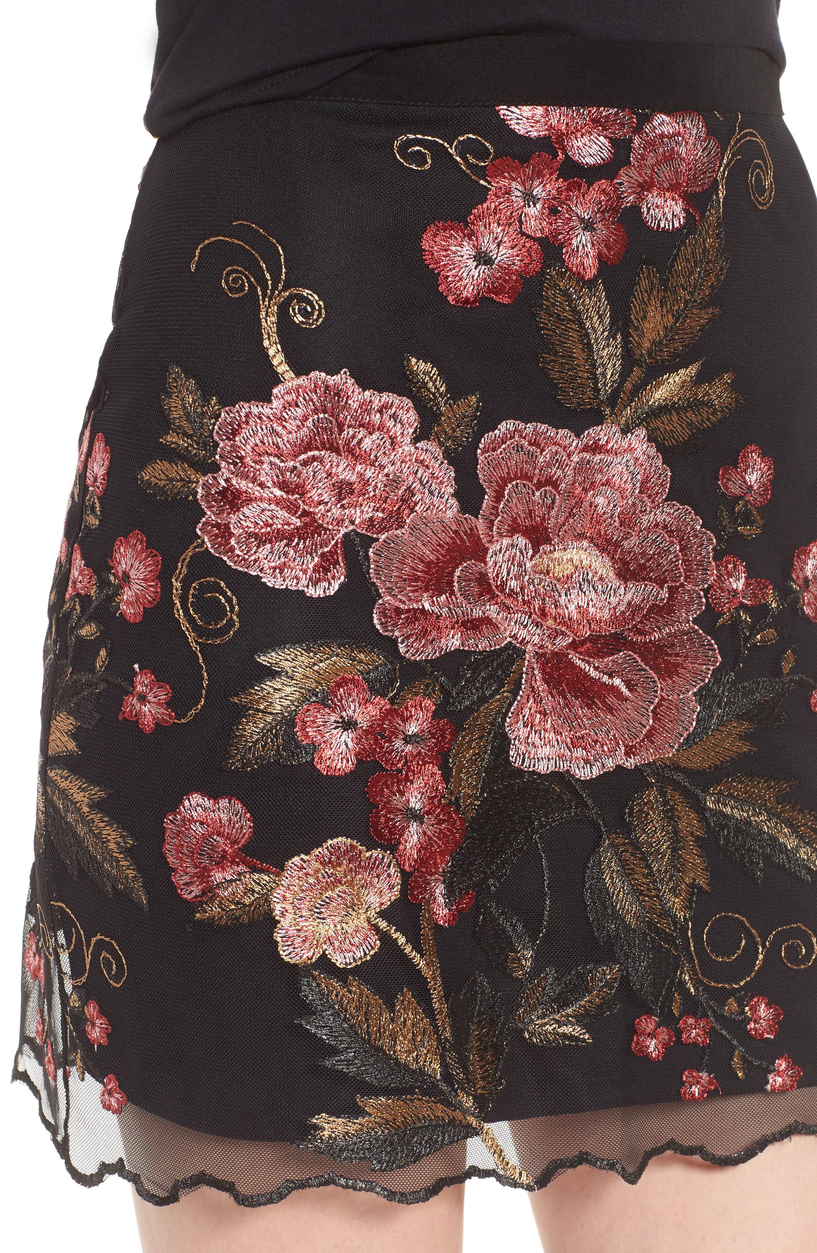 Sunset Embroidered Skirt,                             Alternate thumbnail 5, color,                             Black/ Rose