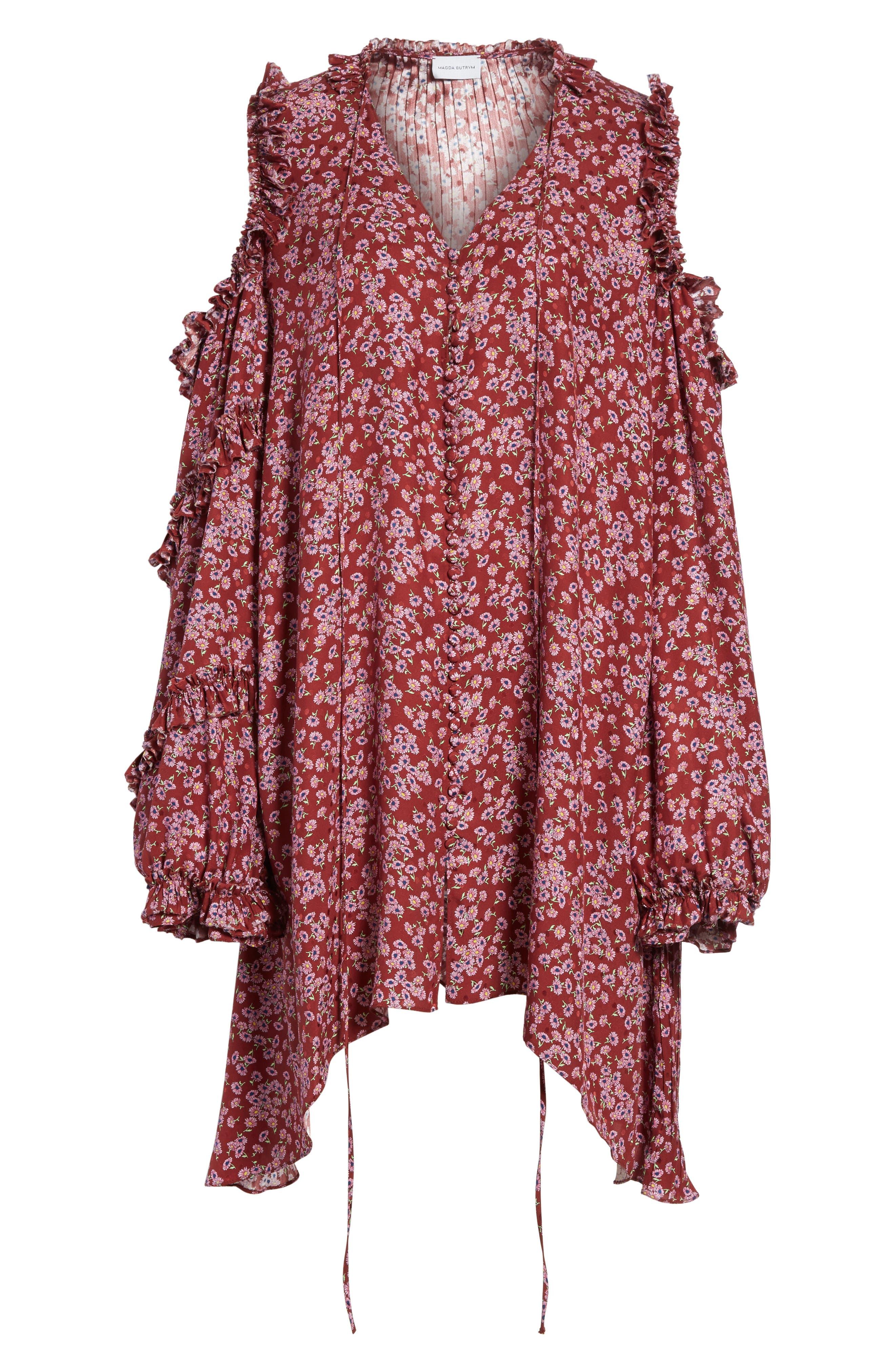Floral Silk Cold Shoulder Dress,                             Alternate thumbnail 8, color,                             Bordeaux