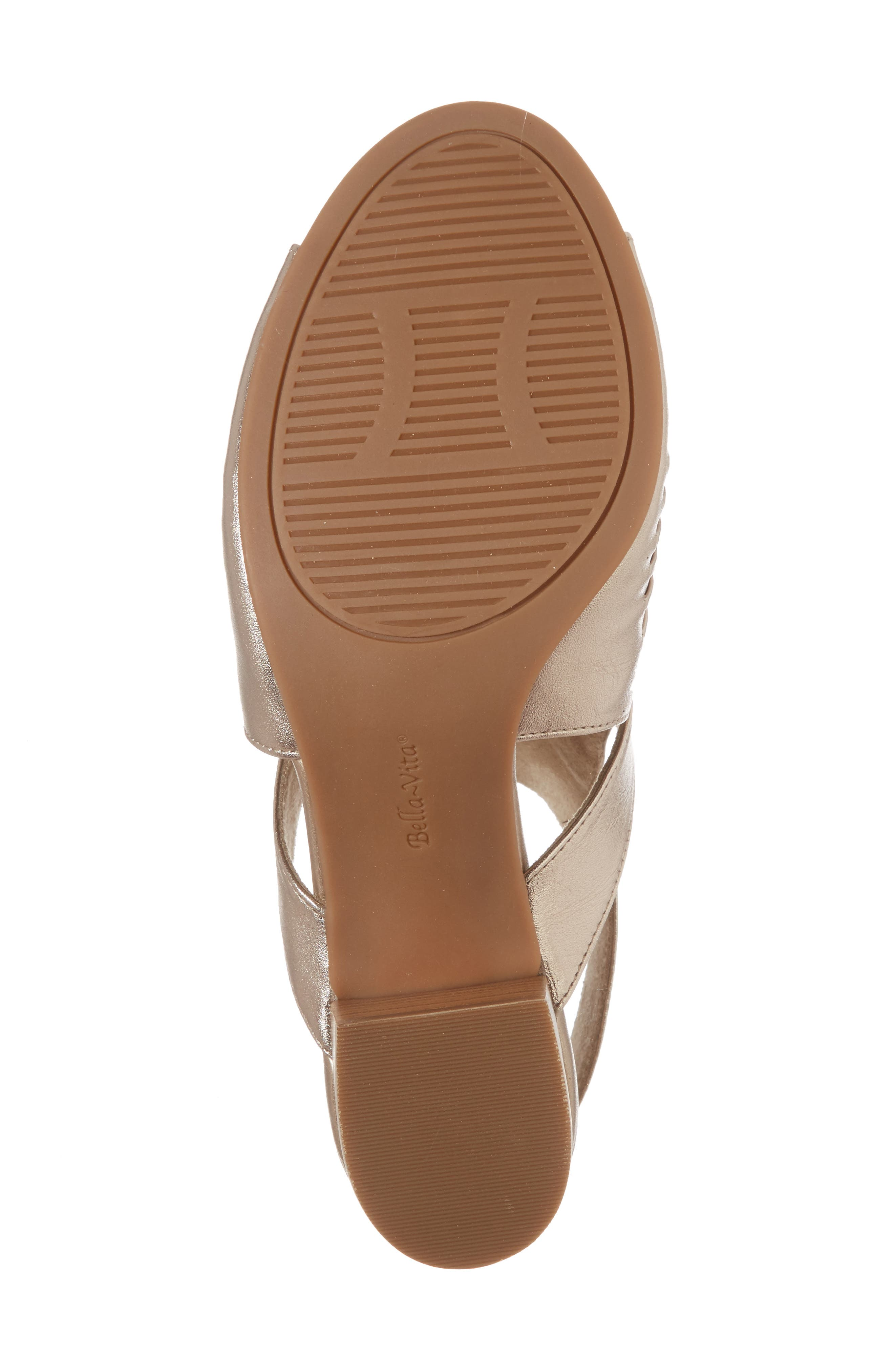 Finley Ankle Strap Sandal,                             Alternate thumbnail 6, color,                             Champagne Fabric