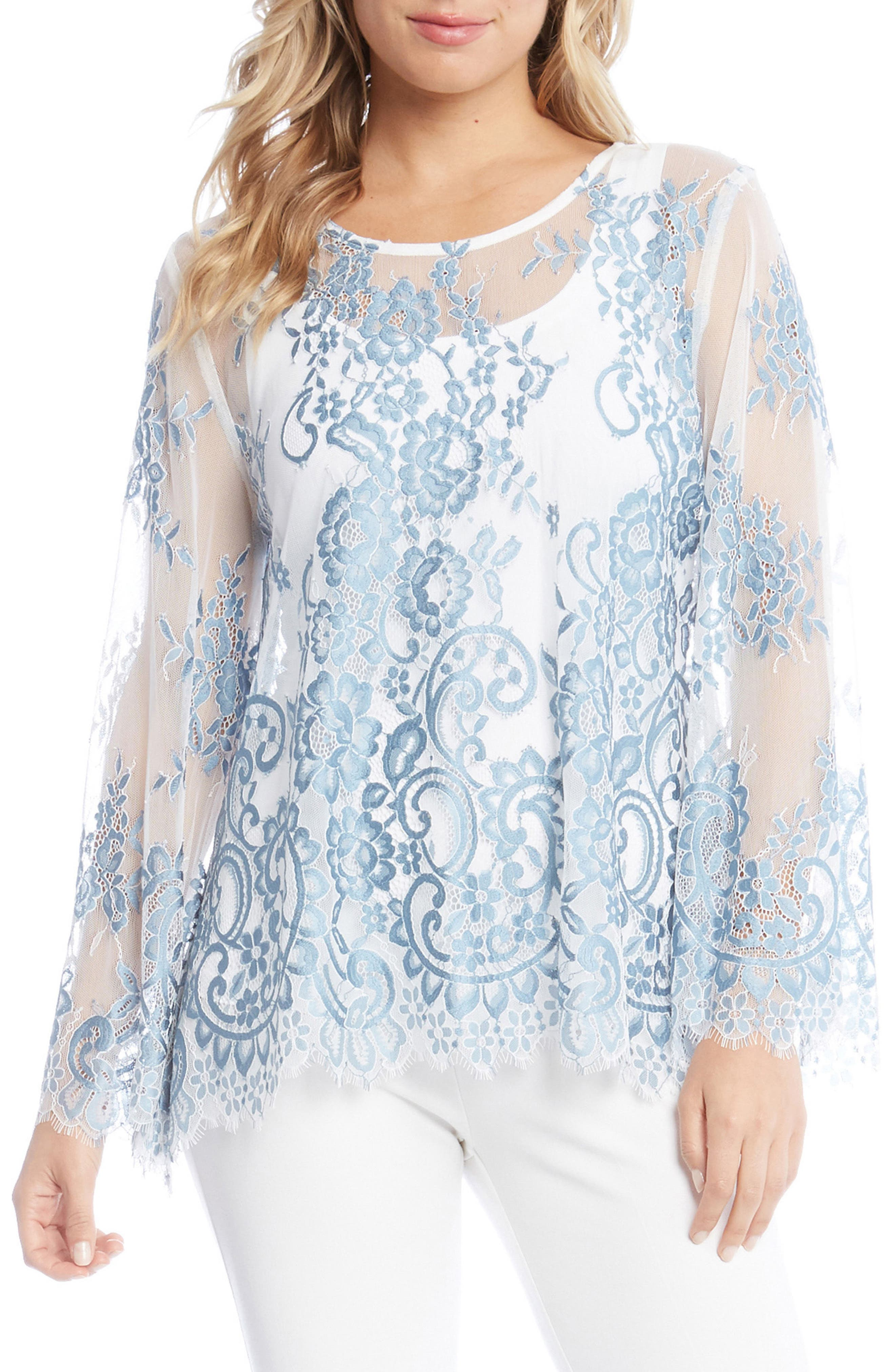 Embroidered Floral Lace Top,                         Main,                         color, Power Blue