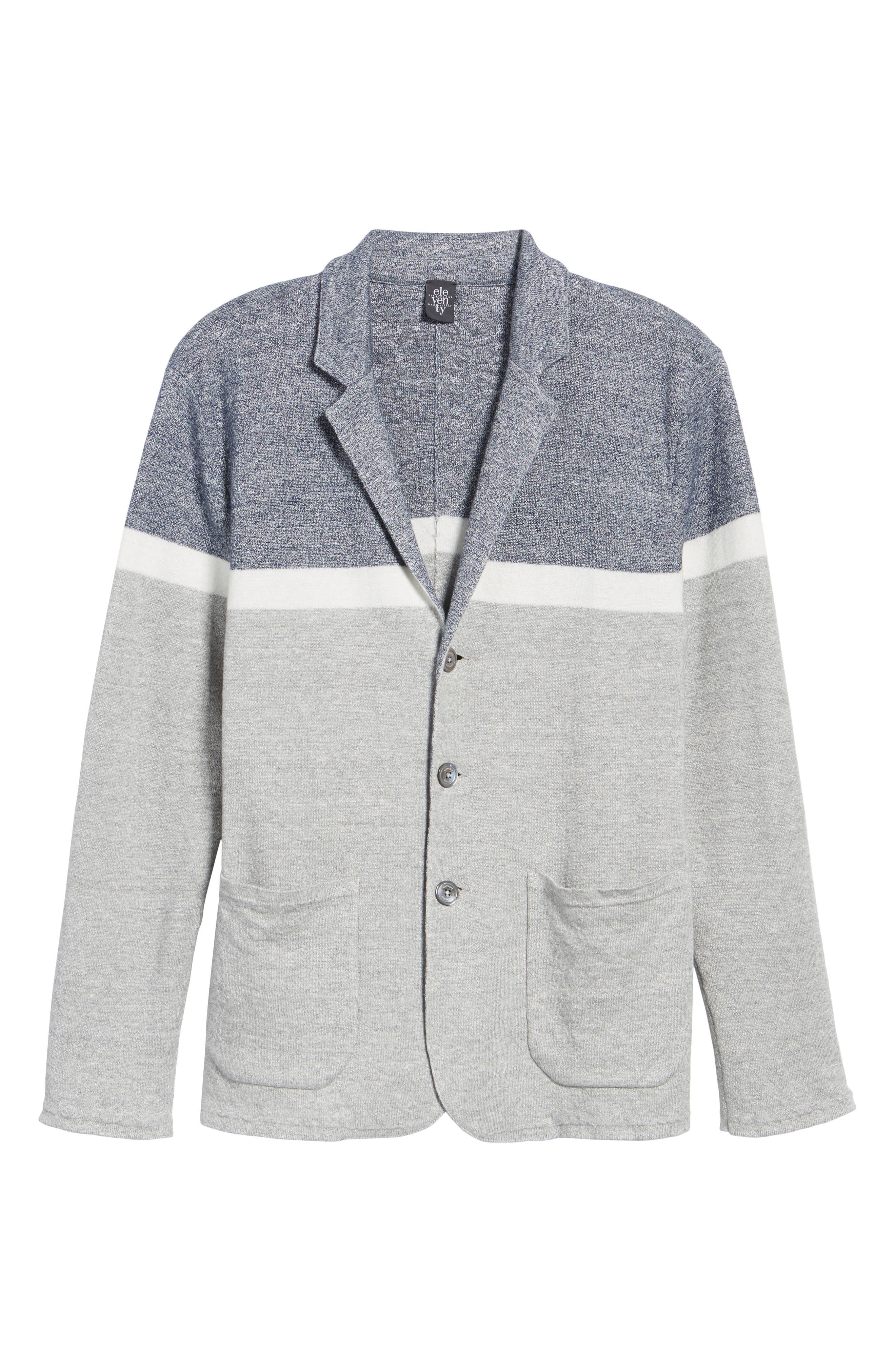 Colorblock Sweater Jacket,                             Alternate thumbnail 6, color,                             Grey