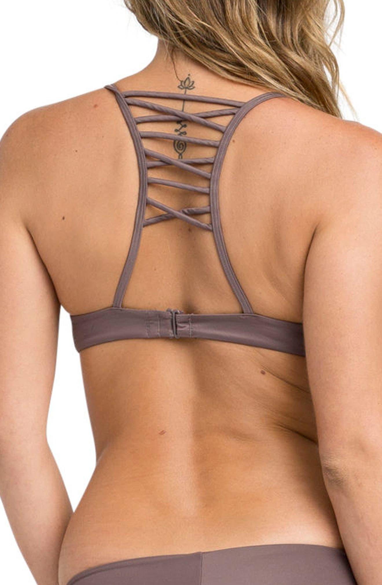 Solid Bralette Criscross Bikini Top,                             Alternate thumbnail 3, color,                             Raisin