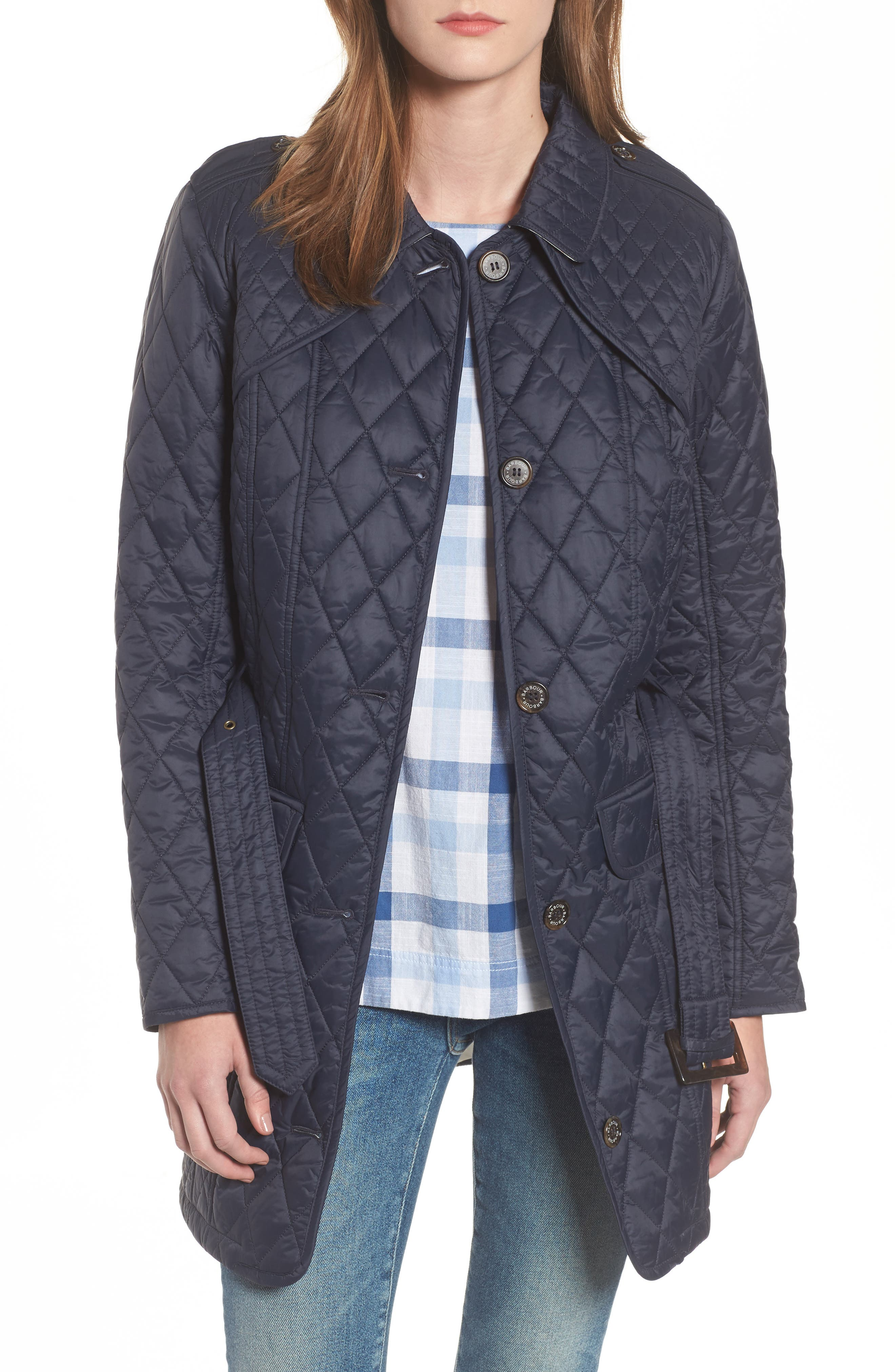 Hailes Quilted Trench Jacket,                         Main,                         color, Navy