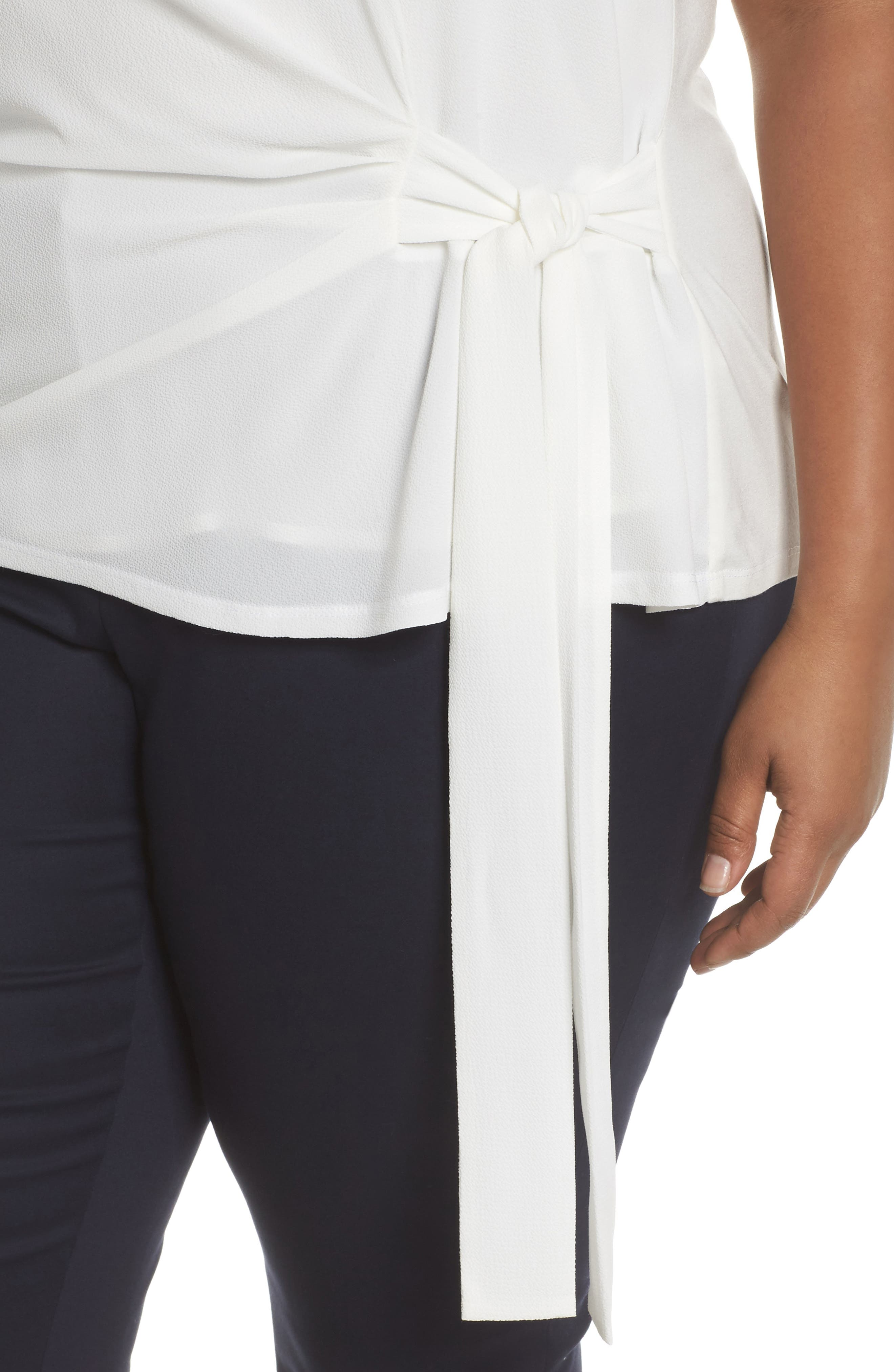 Alternate Image 4  - Vince Camuto Side Tie Mixed Media Top (Plus Size)