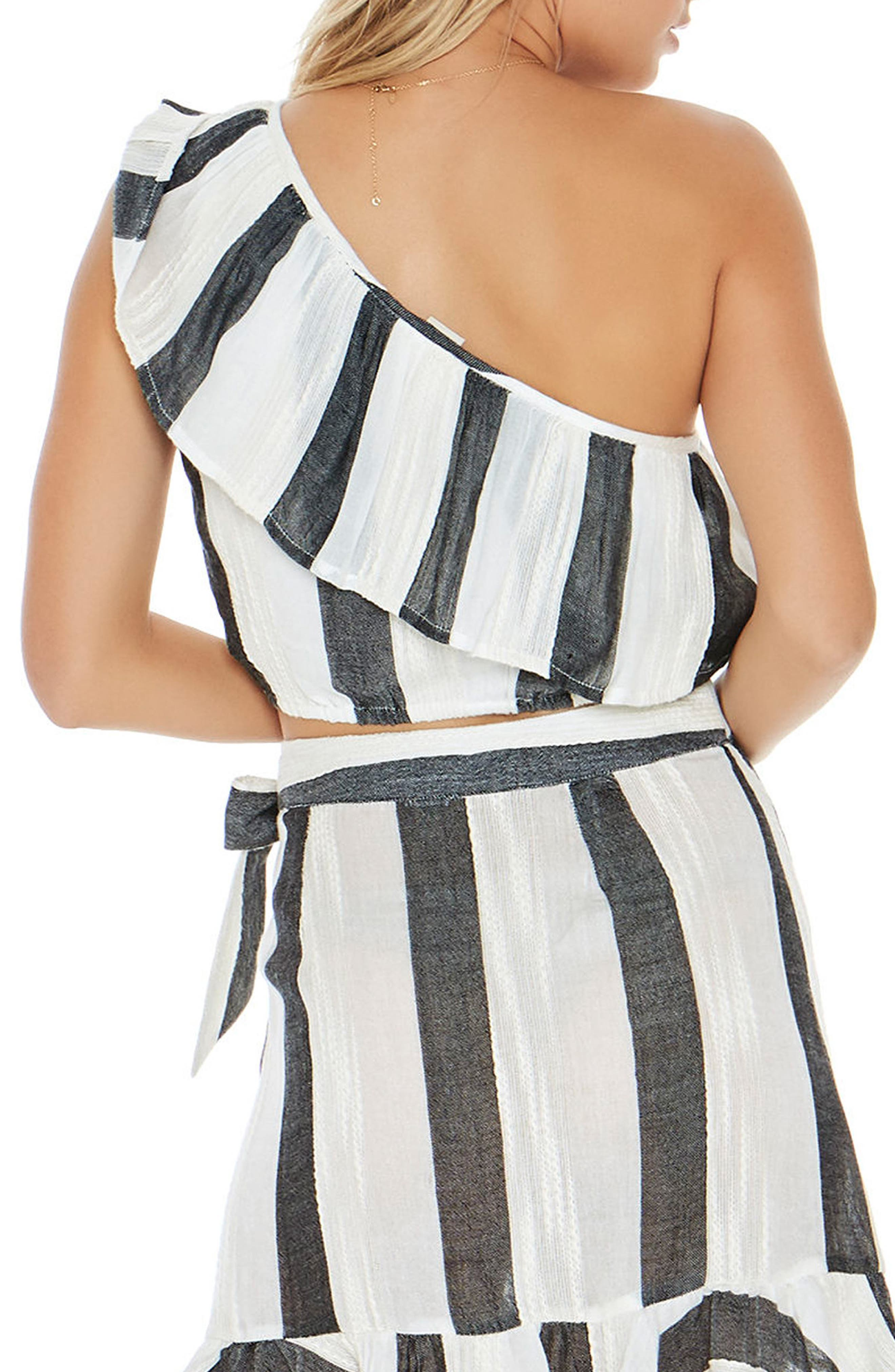 Alicia One-Shoulder Cover-Up Top,                             Alternate thumbnail 2, color,                             Beach Bum Stripe