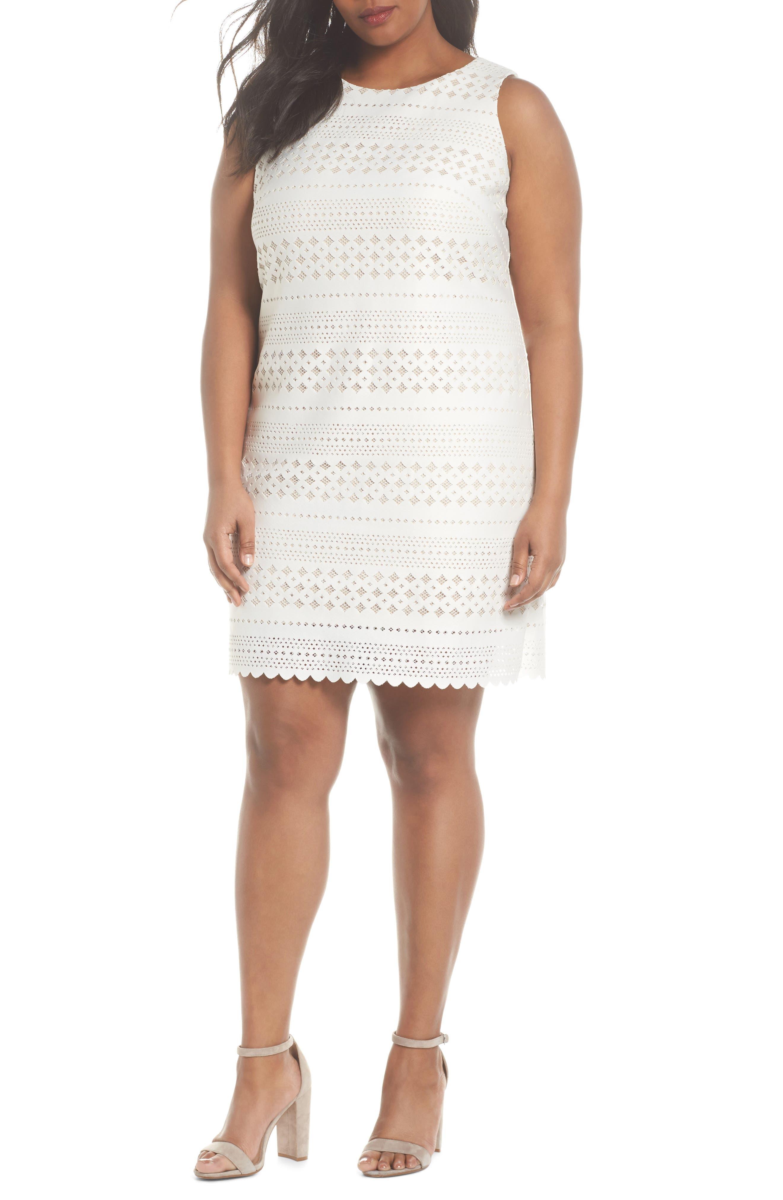 Eliza J Lasercut Sheath Dress (Plus Size)
