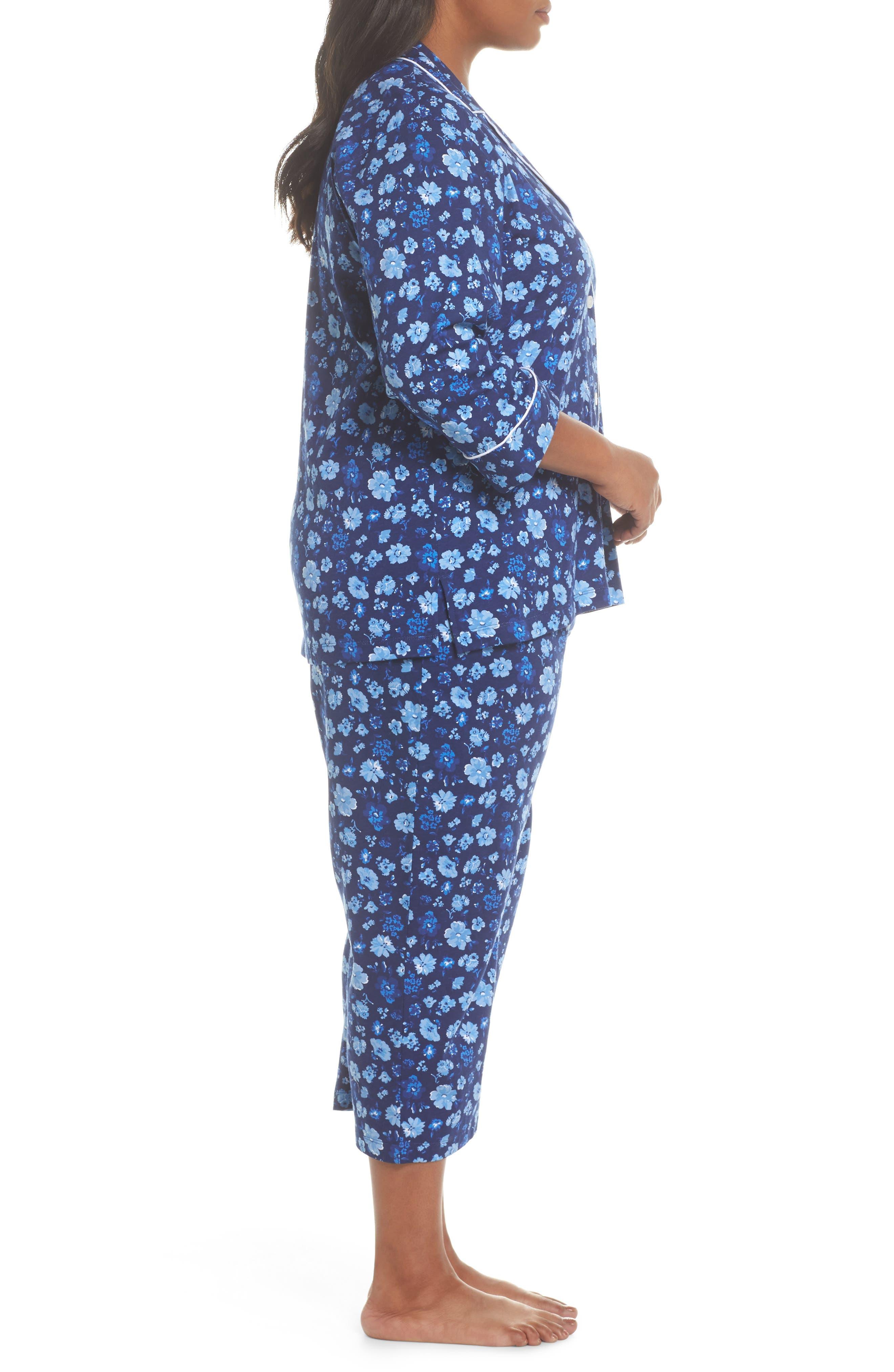 Crop Pajamas,                             Alternate thumbnail 3, color,                             Blue Floral