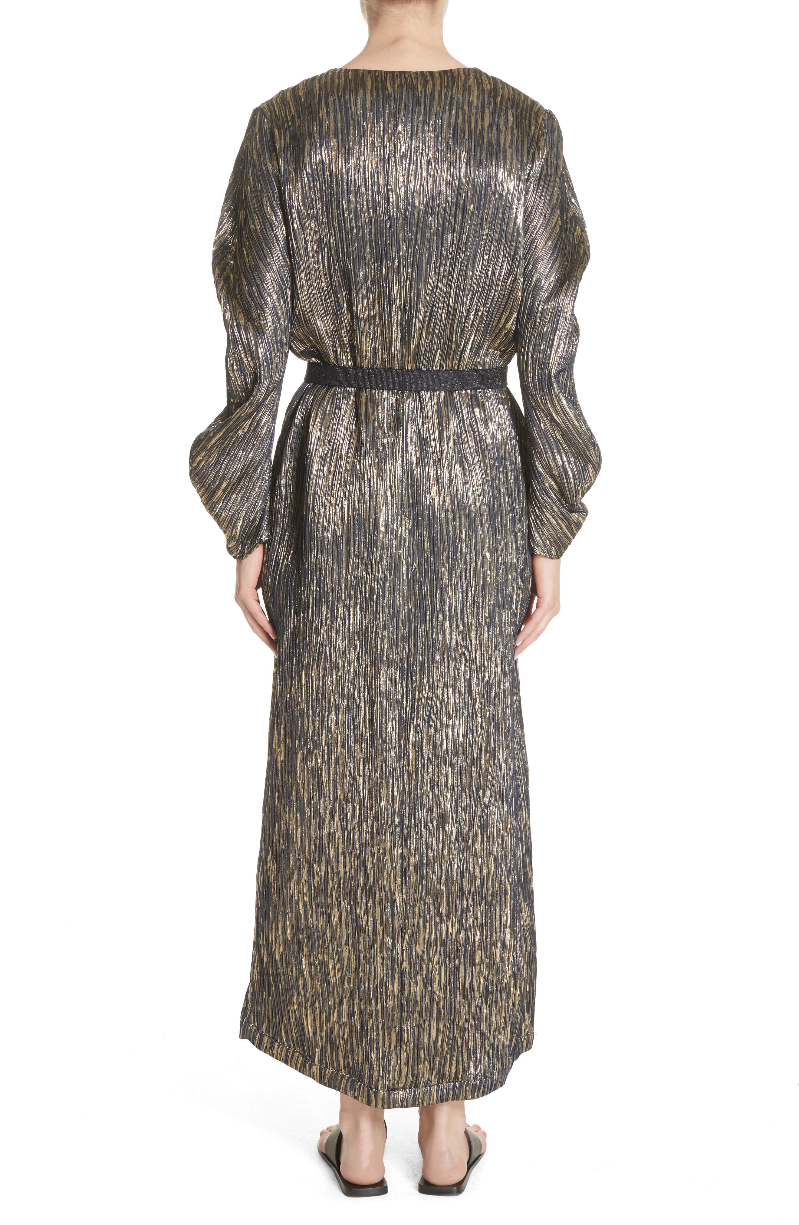 Metallic Silk Blend Midi Dress,                             Alternate thumbnail 2, color,                             Ink/Gold