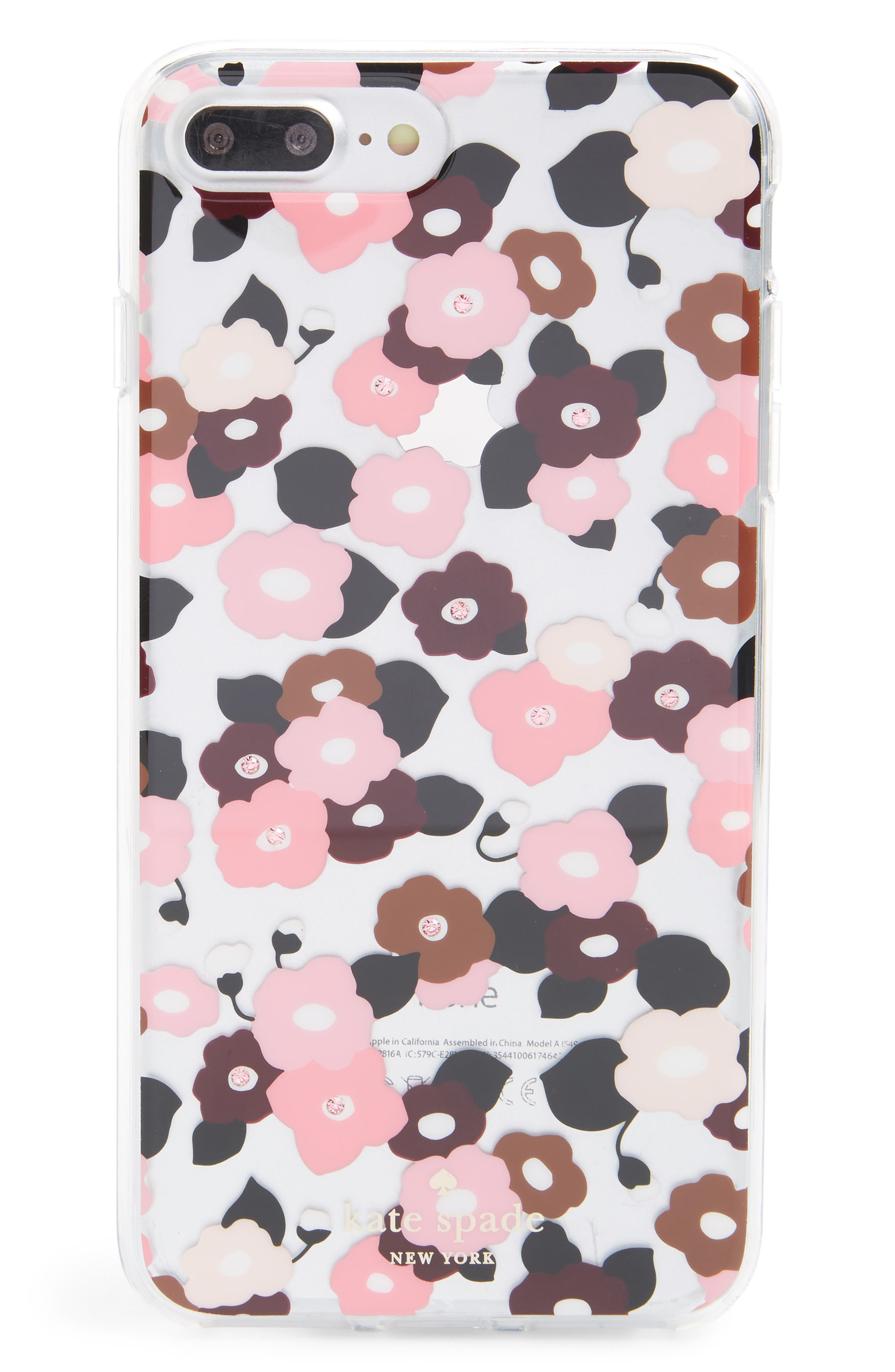 jeweled small blooms iPhone 7/8 & 7/8 Plus case,                         Main,                         color, Clear Multi