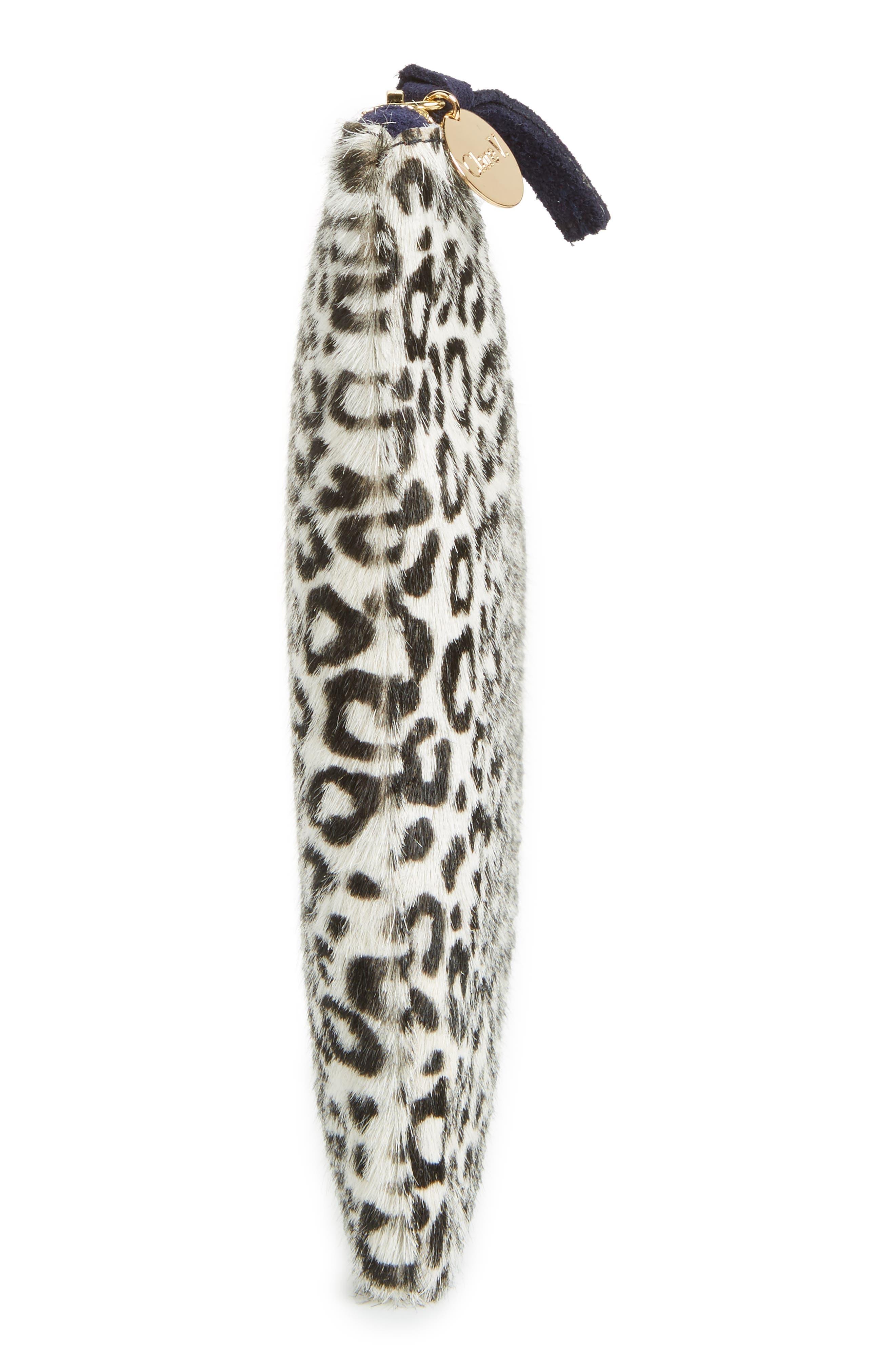 Star Ocelot Print Genuine Calf Hair Flat Clutch,                             Alternate thumbnail 5, color,                             Mini Ocelot Hair-On
