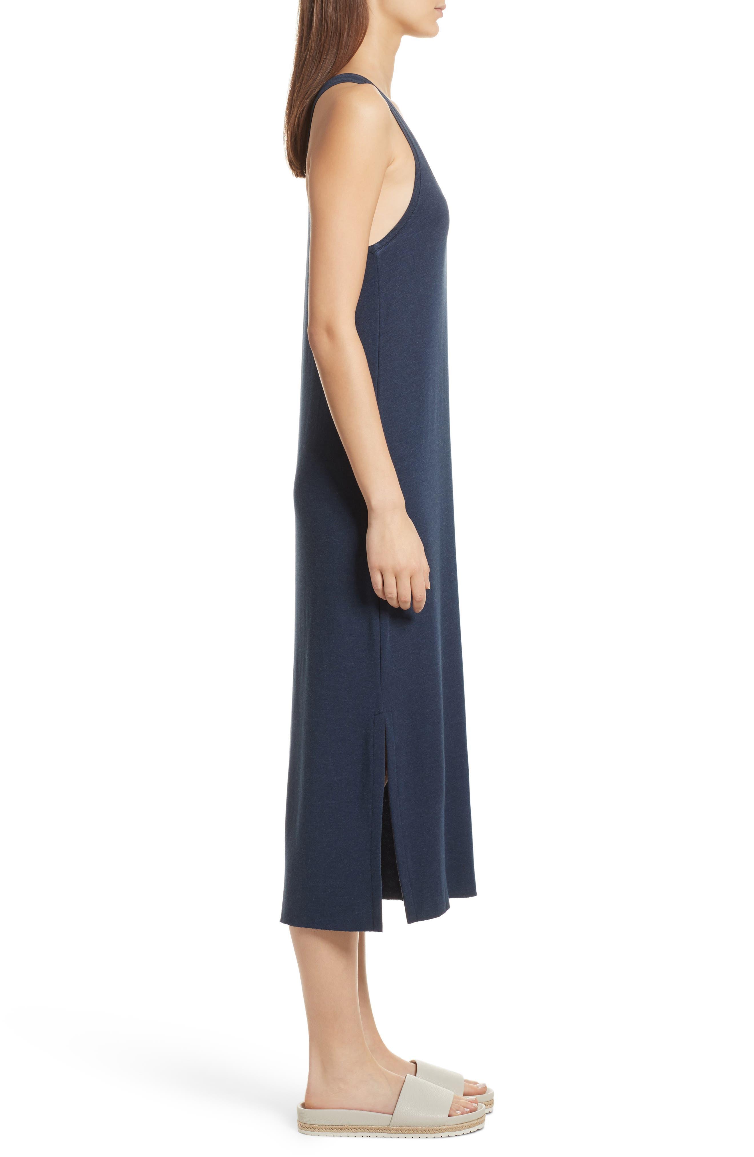 Pocket Midi Dress,                             Alternate thumbnail 3, color,                             Heather Denim