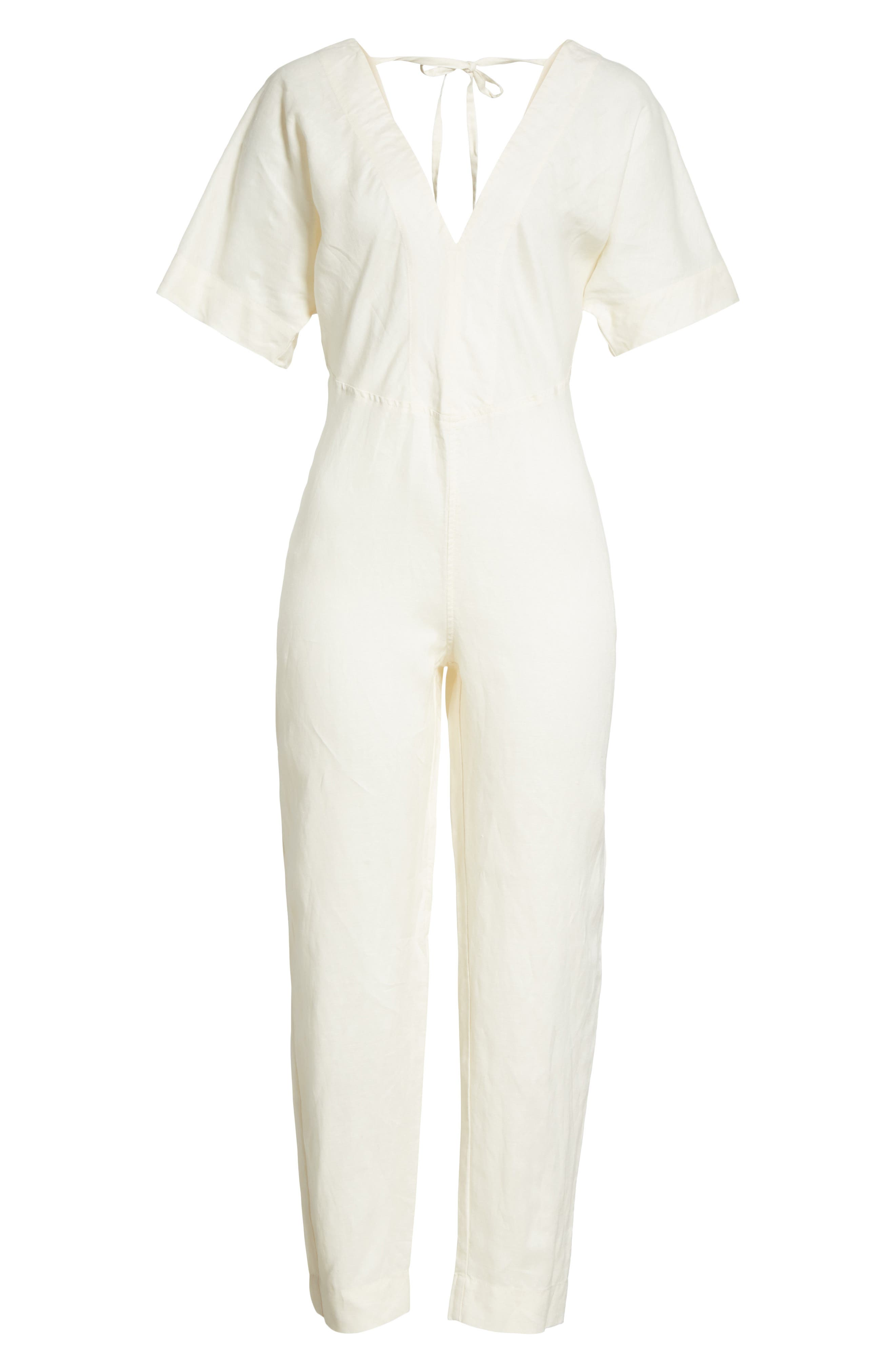 Shining Sun Tie Front Jumpsuit,                             Alternate thumbnail 6, color,                             Ivory