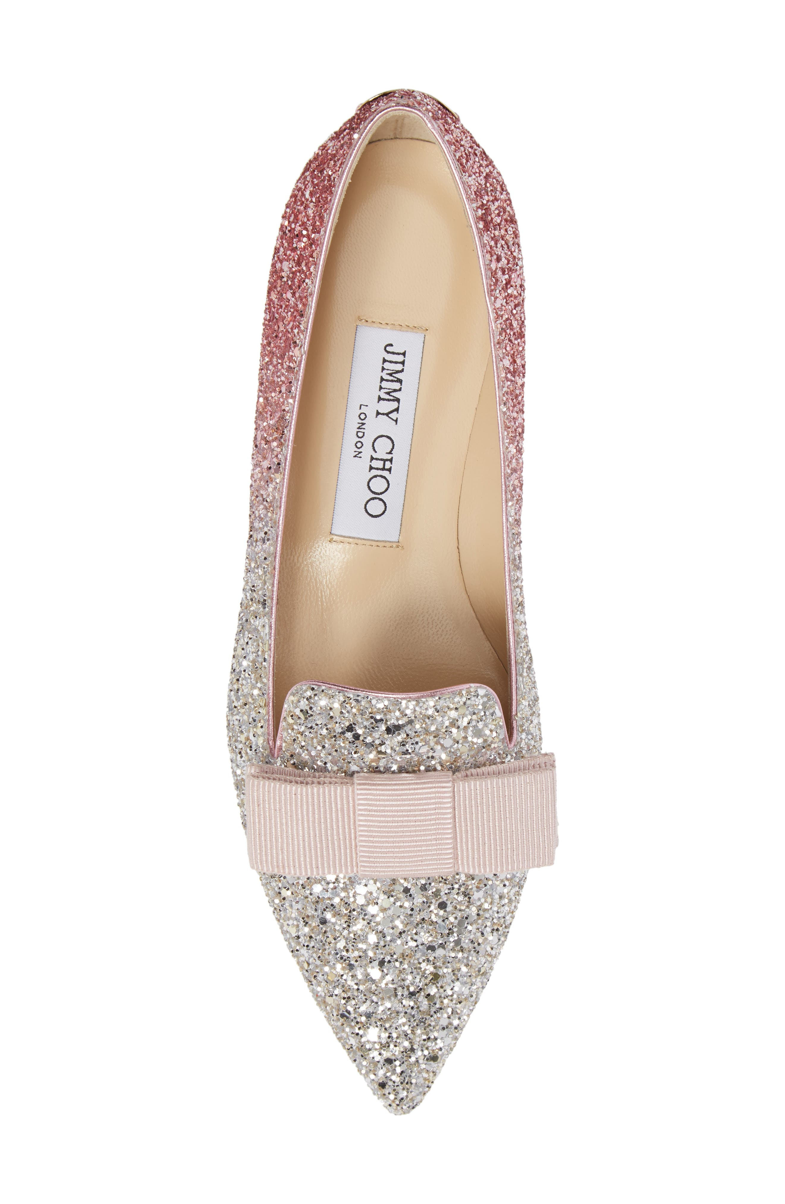 Glitter Bow Flat,                             Alternate thumbnail 5, color,                             Flamingo Pink
