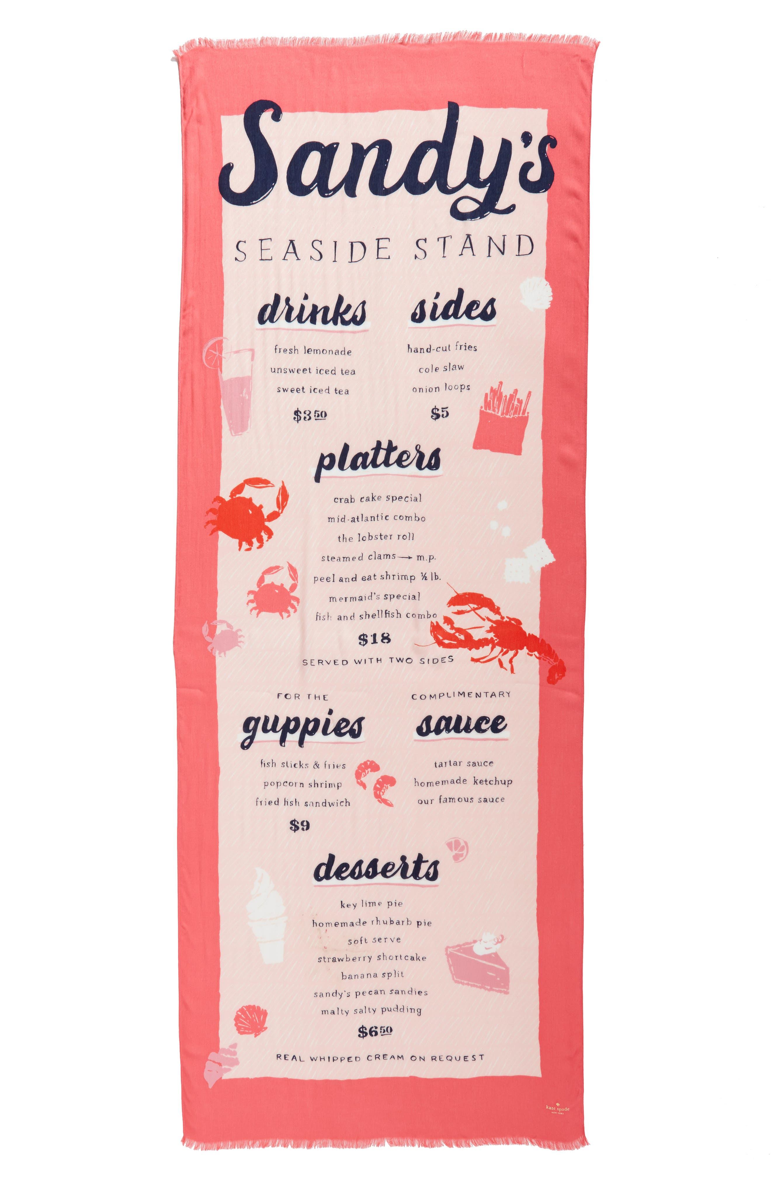 sandy's seaside stand scarf,                             Alternate thumbnail 2, color,                             Peach Sherbert
