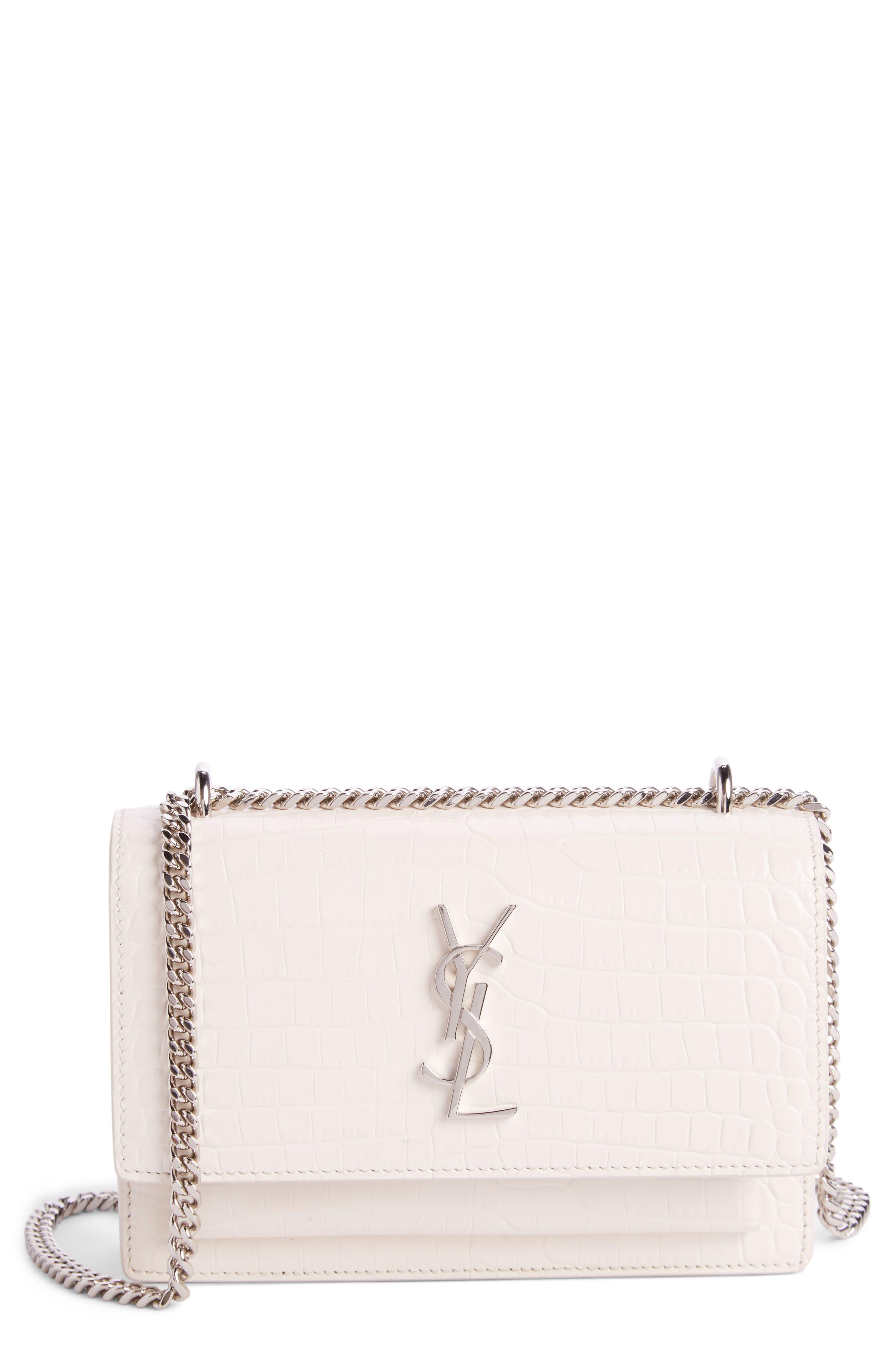 Main Image - Saint Laurent Mini Monogram Sunset Croc Embossed Leather Shoulder Bag
