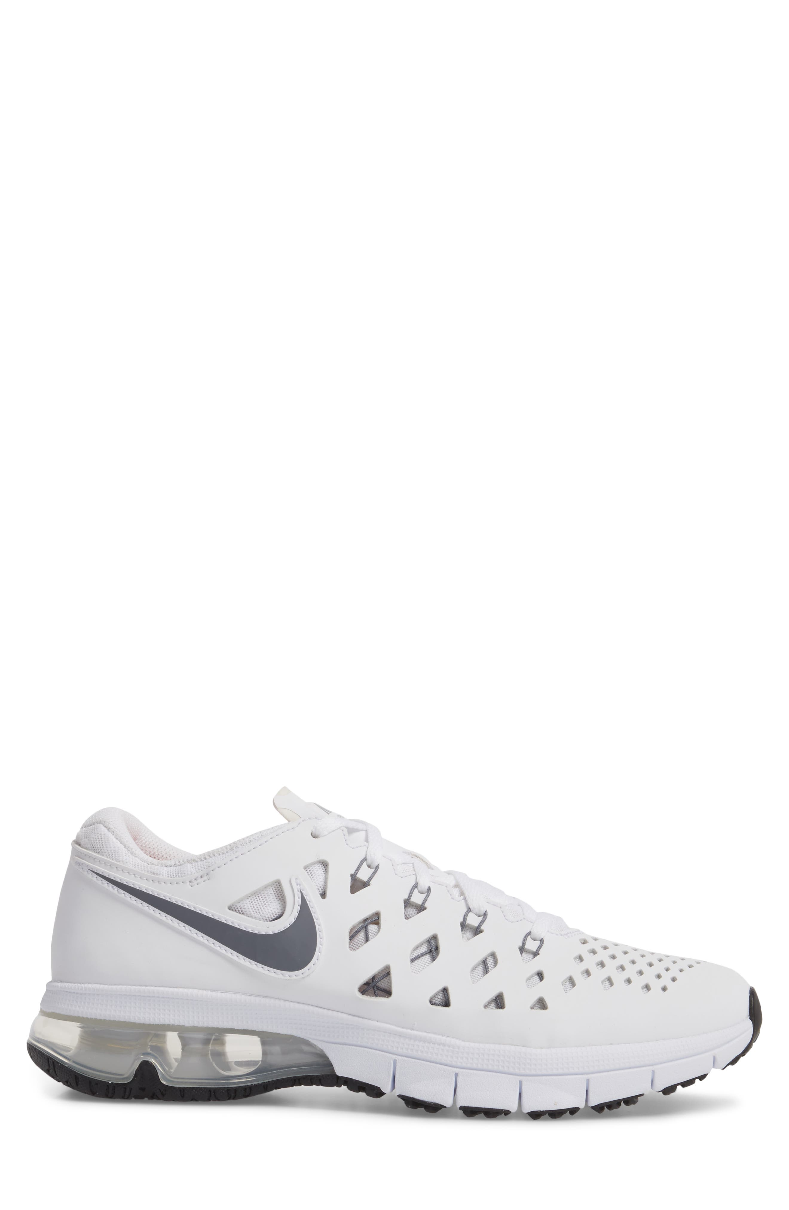 Air Trainer 180 Training Shoe,                             Alternate thumbnail 3, color,                             White/ Cool Grey-Black