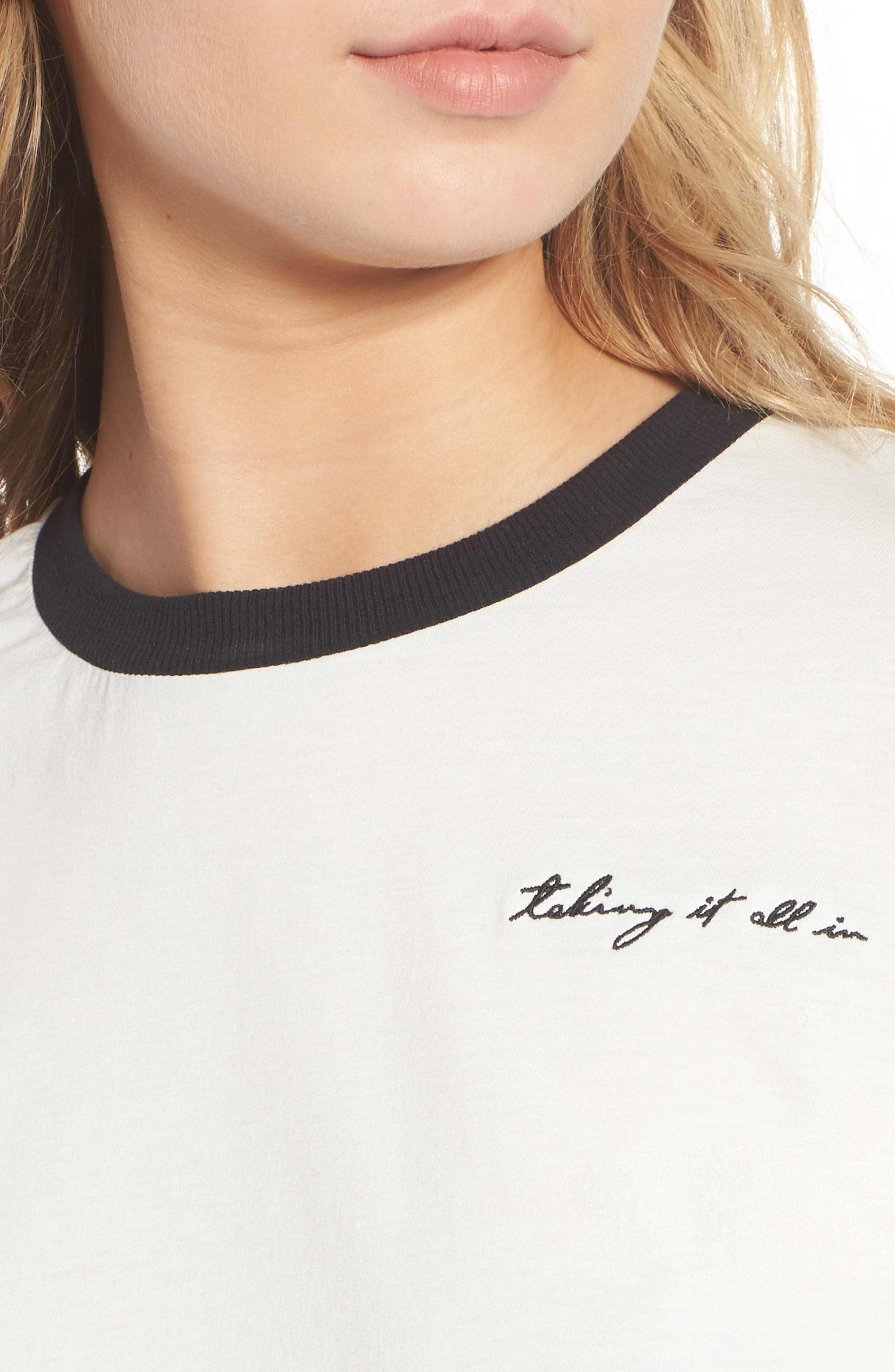 Embroidered Ringer Tee,                             Alternate thumbnail 4, color,                             White W/ Black Embroidery
