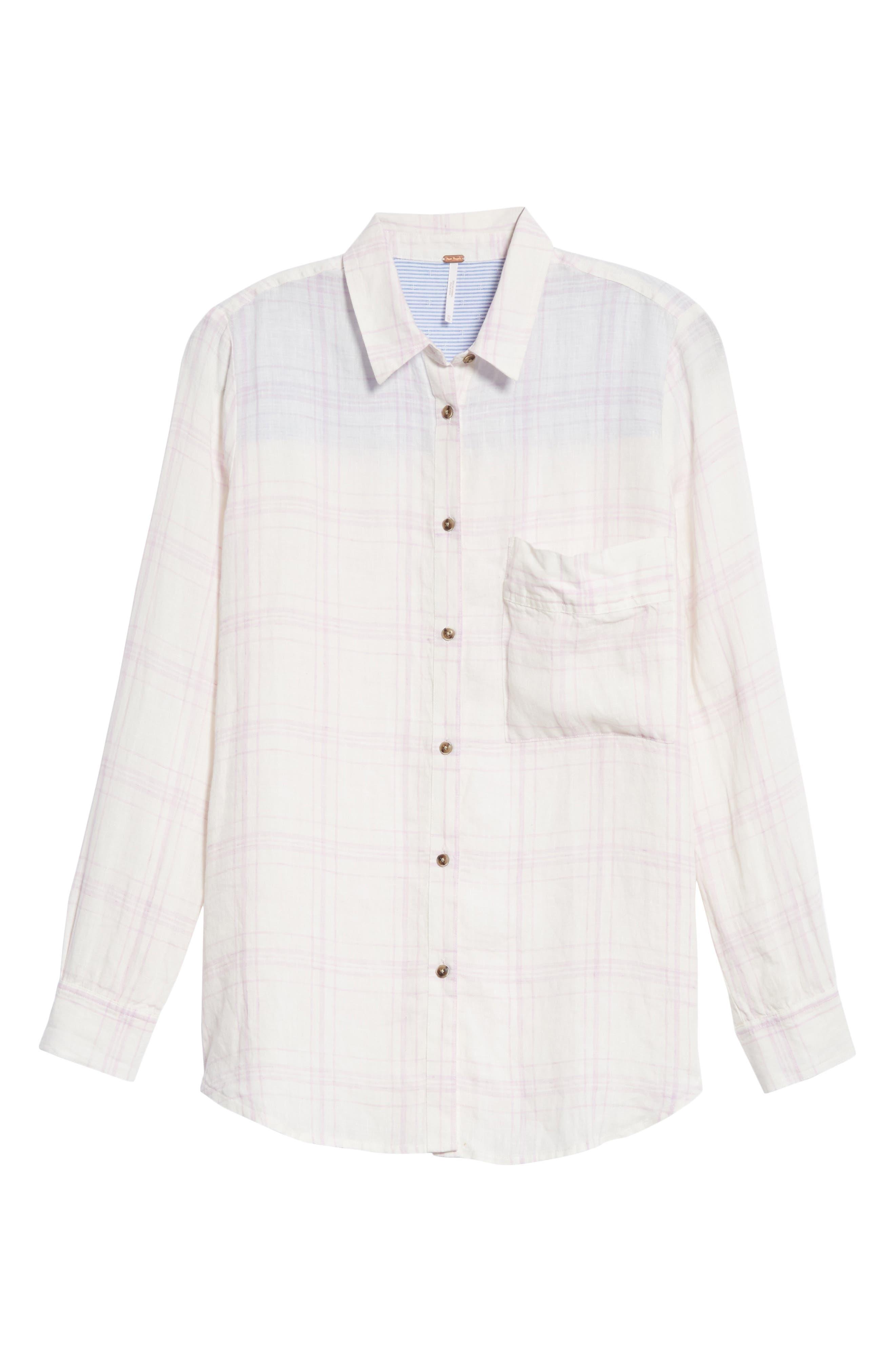 No Limits Plaid Linen Shirt,                         Main,                         color, Lilac