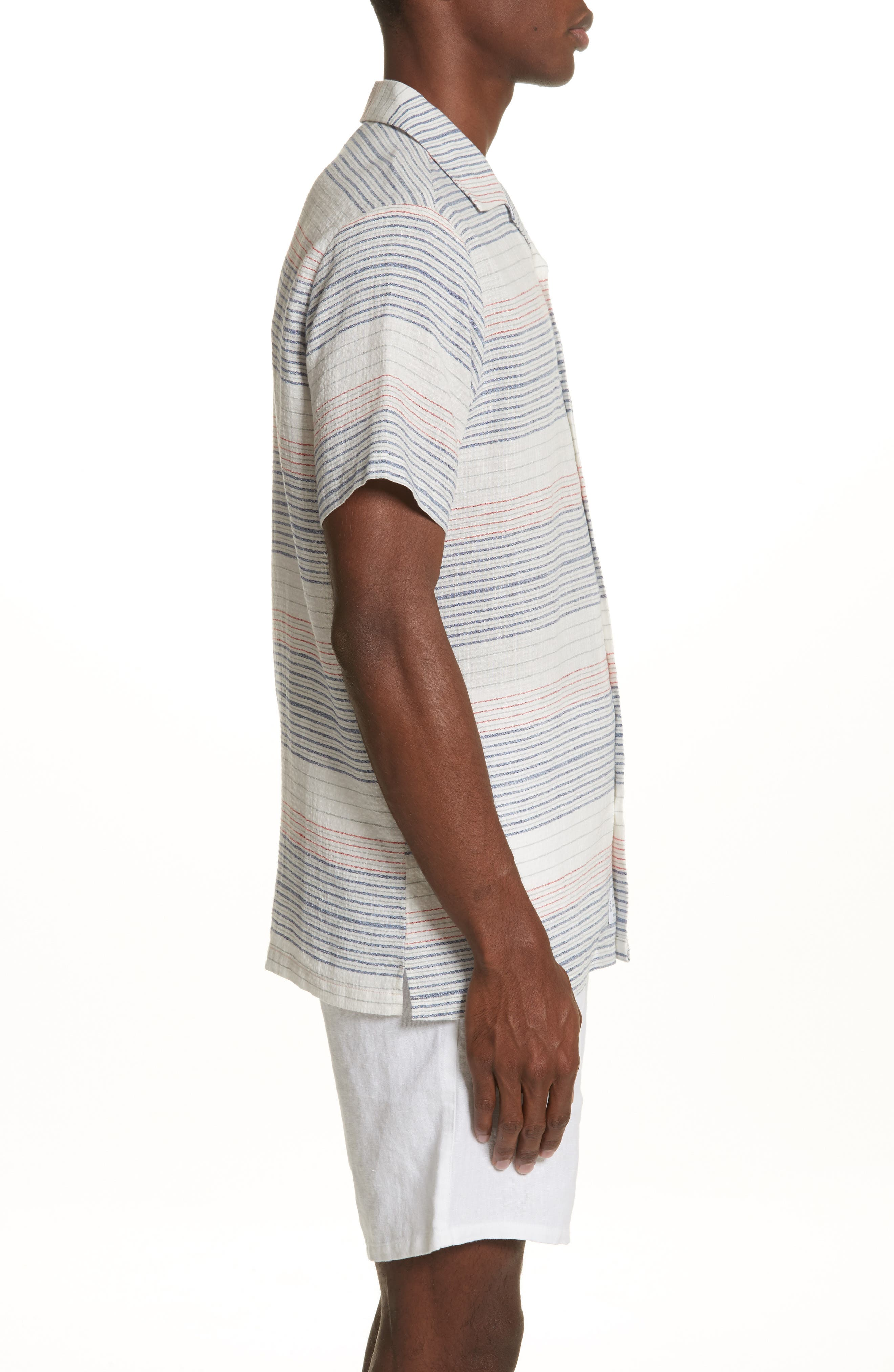 Americana Stripe Woven Camp Shirt,                             Alternate thumbnail 3, color,                             Multi