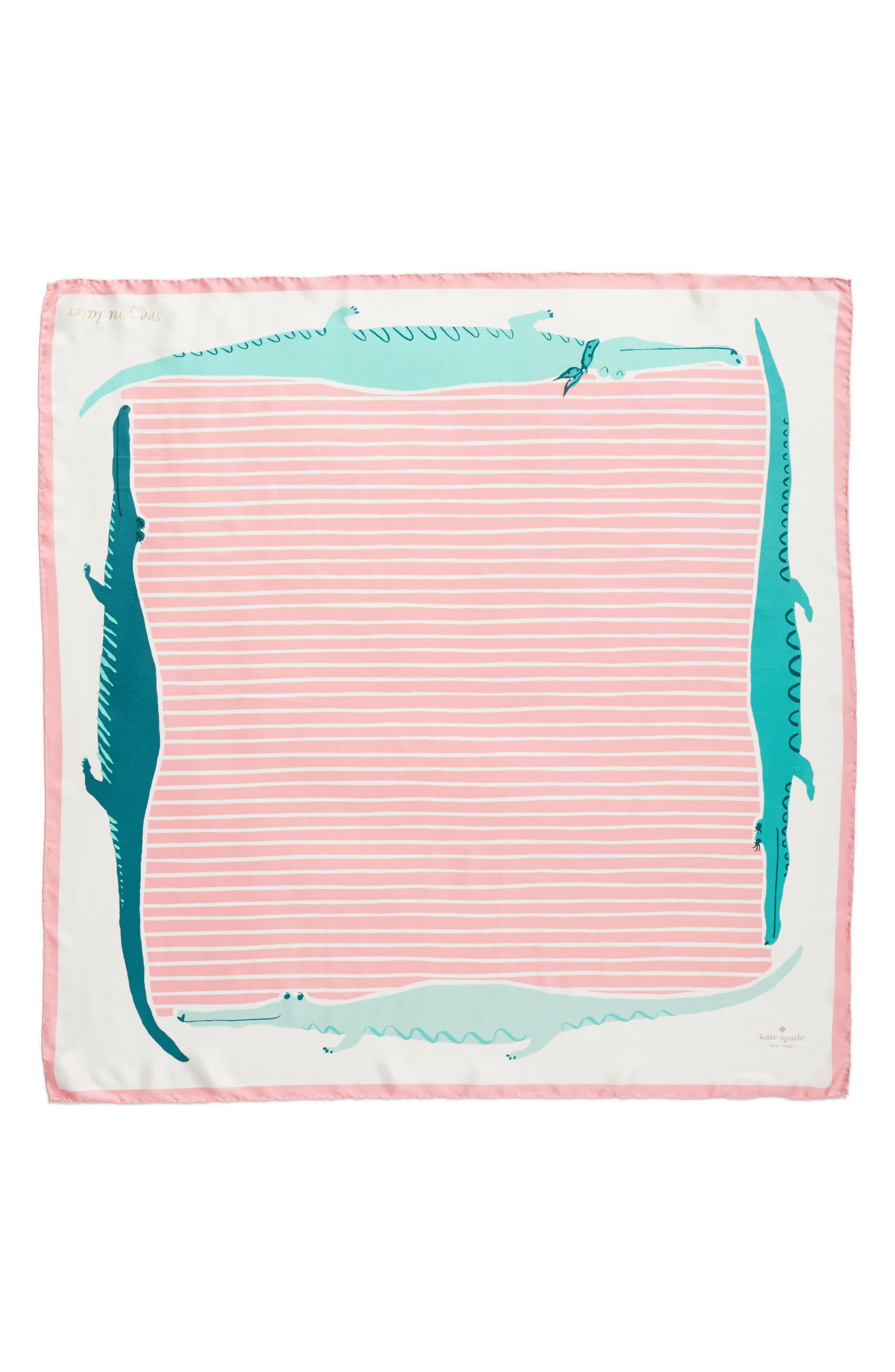 alligator square silk scarf,                             Alternate thumbnail 2, color,                             Cream