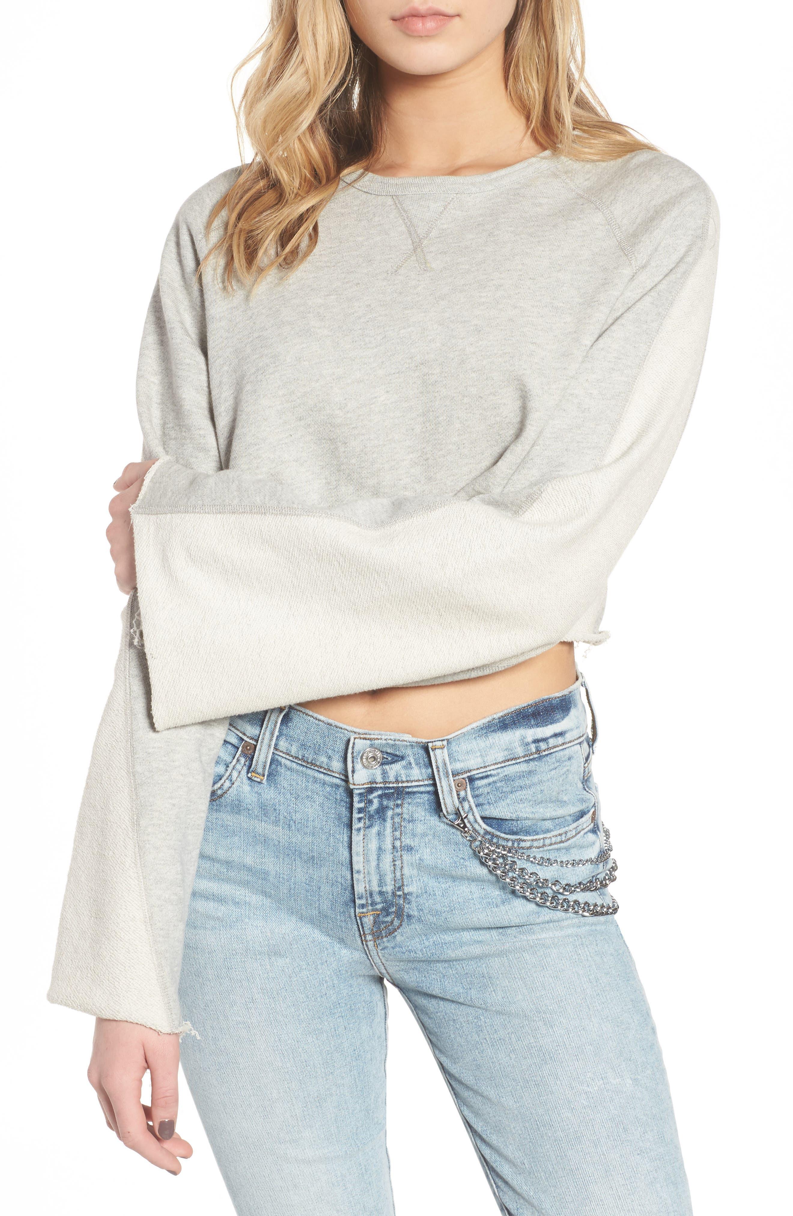Flare Sleeve Crop Sweatshirt,                         Main,                         color, Heather Grey